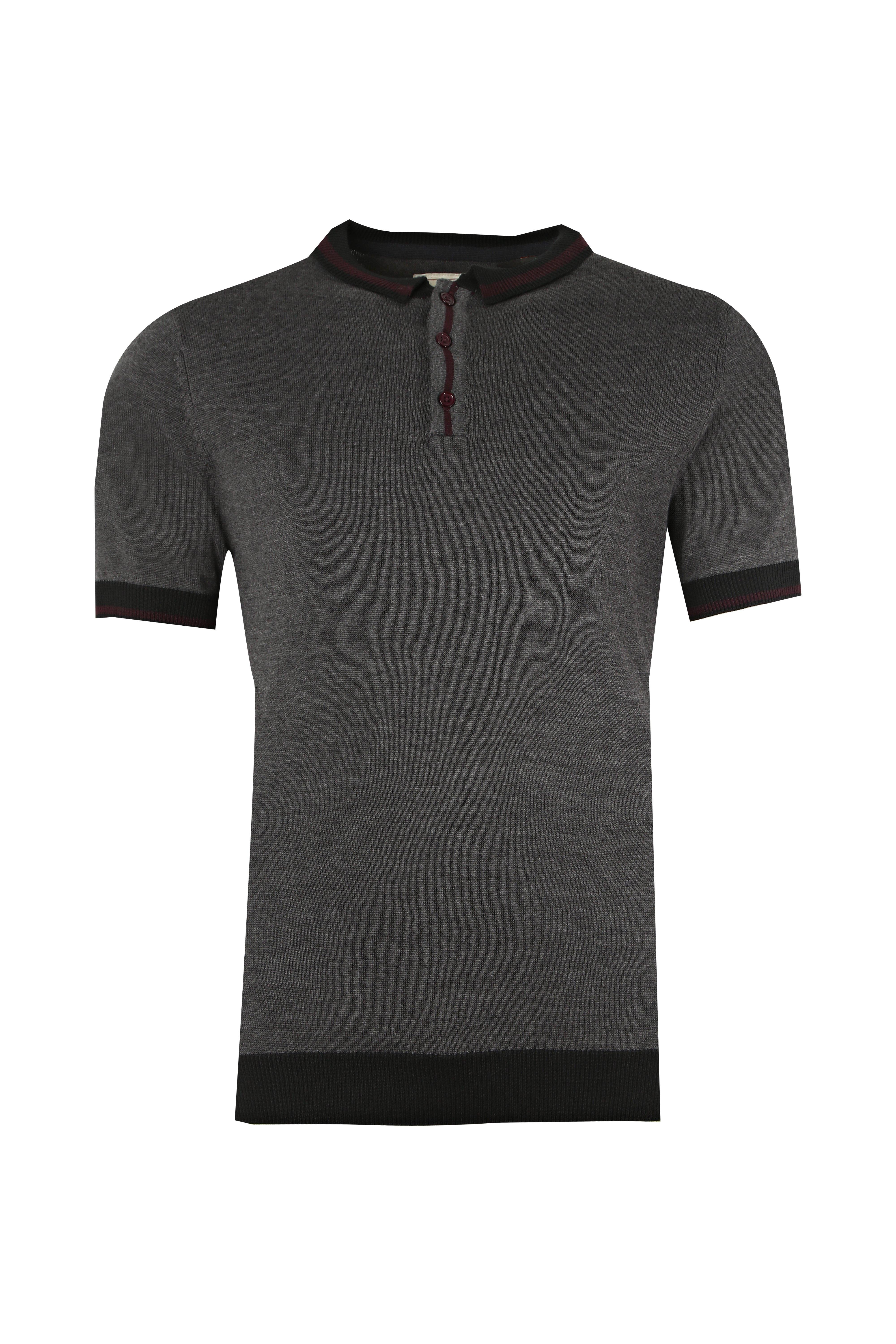 boohooMAN charcoal Short Sleeve Knitted Polo with Tipping