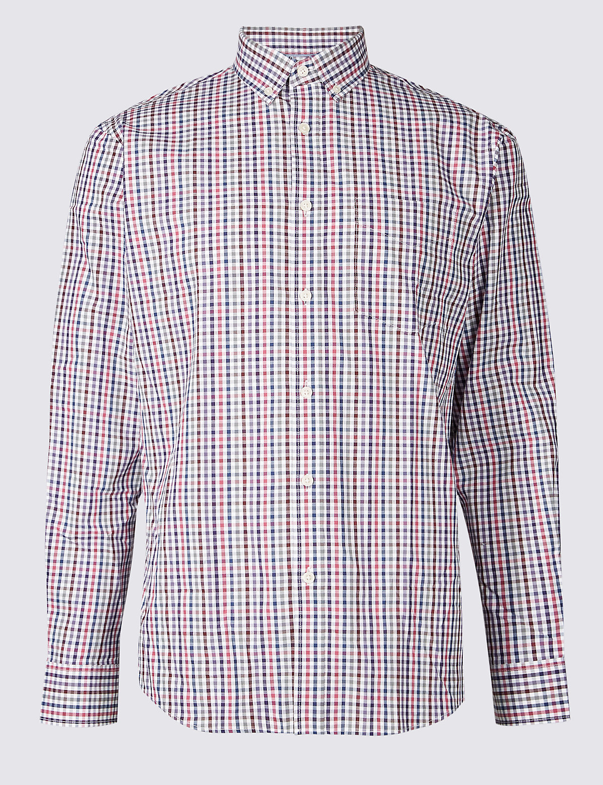 Marks & Spencer Wine Pure Cotton Checked Shirt with Pocket