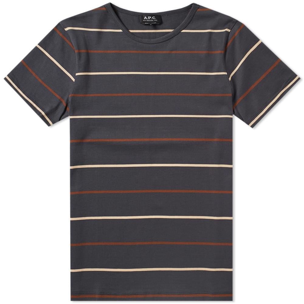 A.P.C. Anthracite Jimmy Stripe Tee