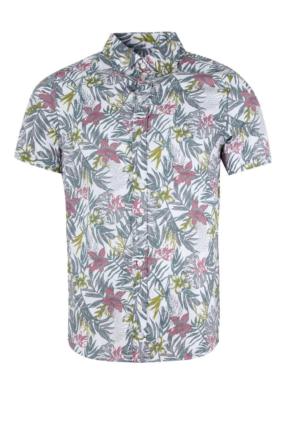 boohooMAN mint Floral Leaf Print Short Sleeve Shirt