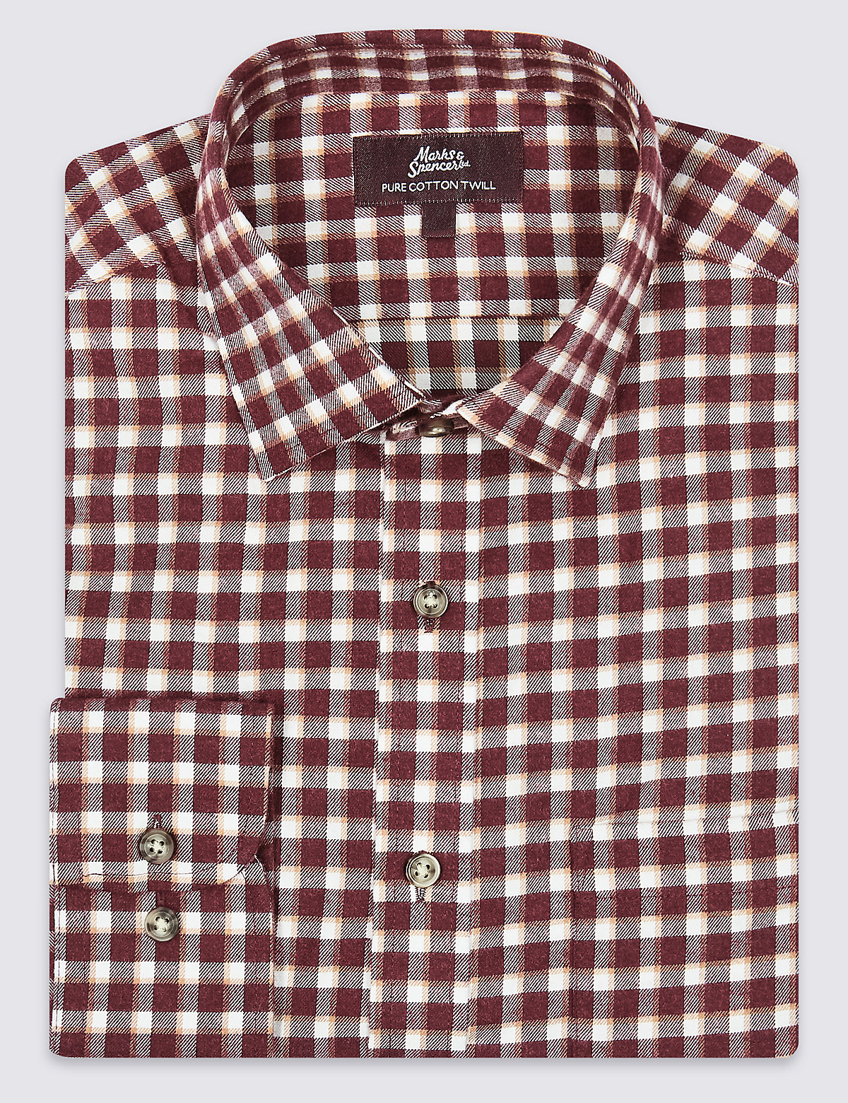 Marks & Spencer Burgundy Mix Pure Cotton Twill Regular Fit Shirt