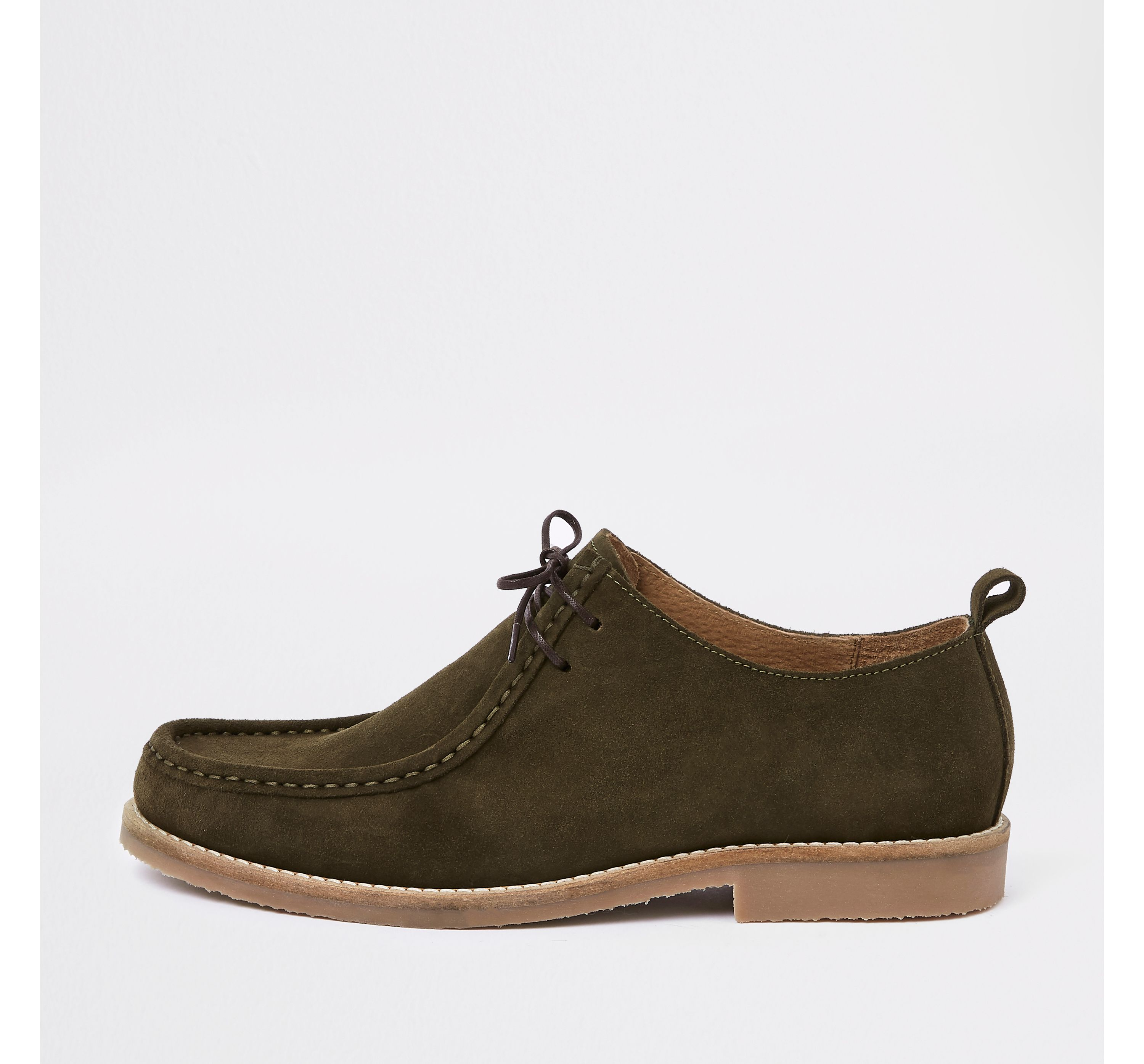 River Island Mens Green suede moccasin shoe