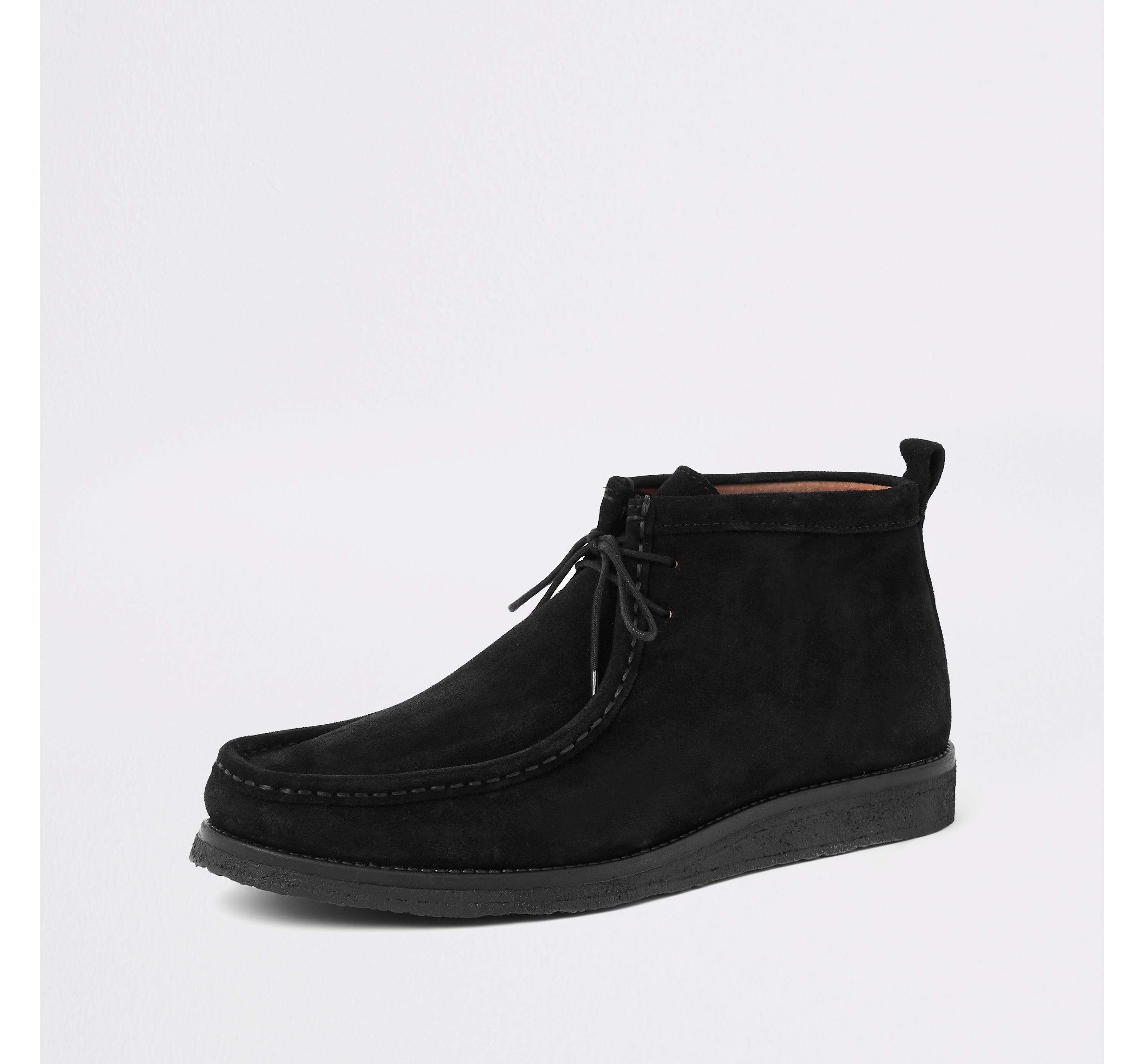 River Island Mens Black suede lace up moccasin boot