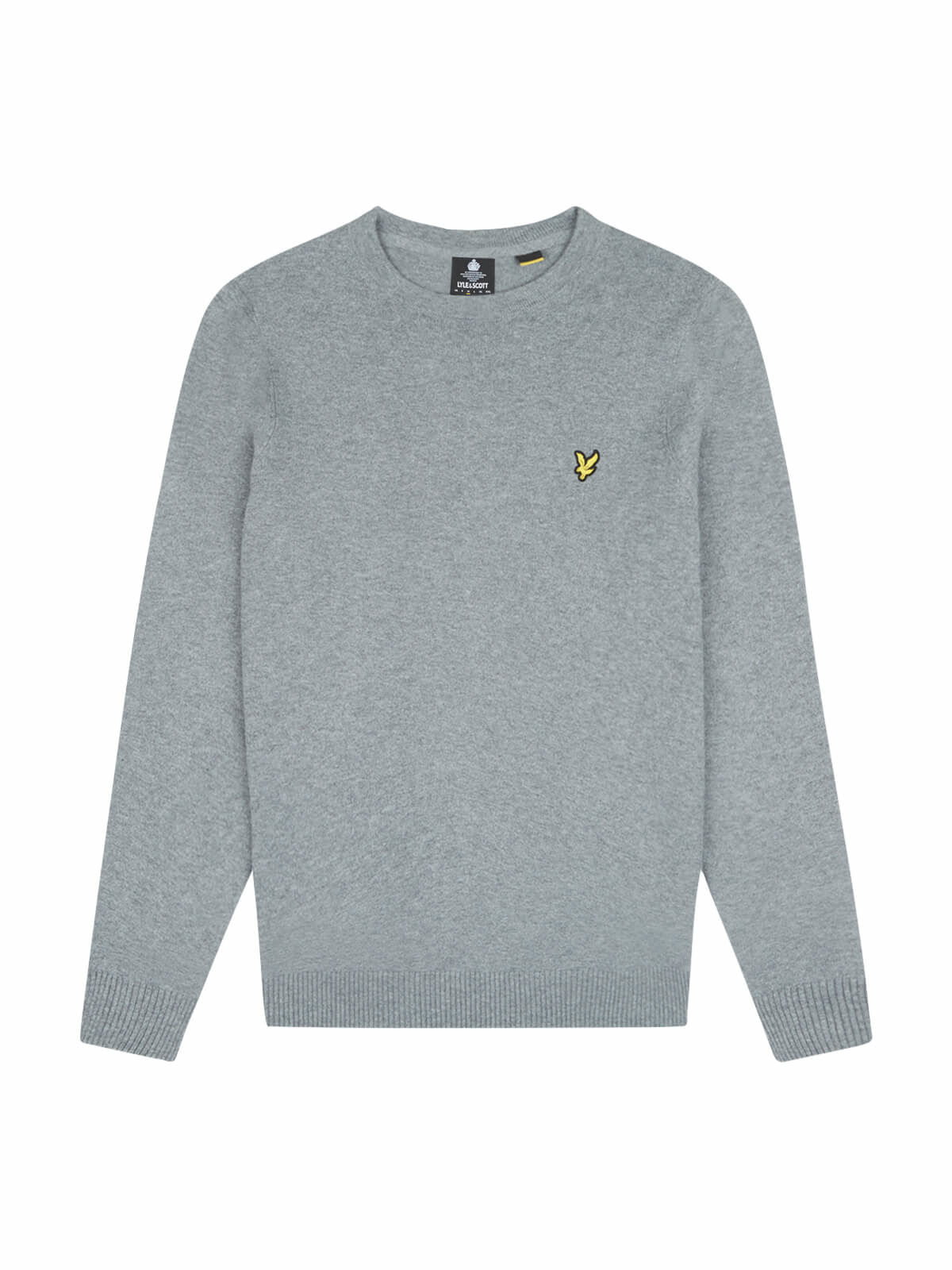 Lyle and Scott Mid Grey Marl Cotton Merino Crew Neck Jumper