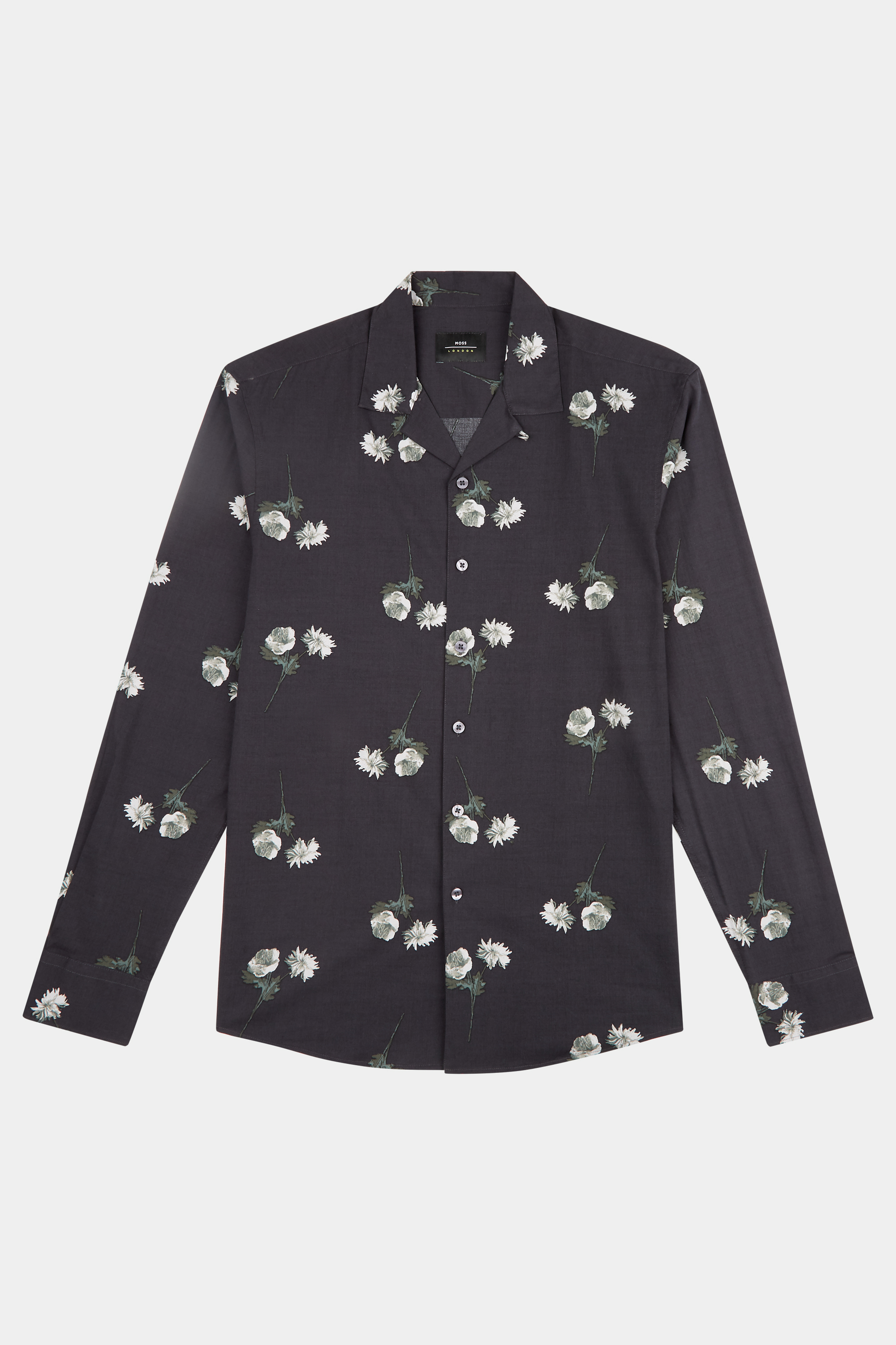Moss Bros Moss London Skinny Fit Navy Floral Print Revere Collar Casual Shirt