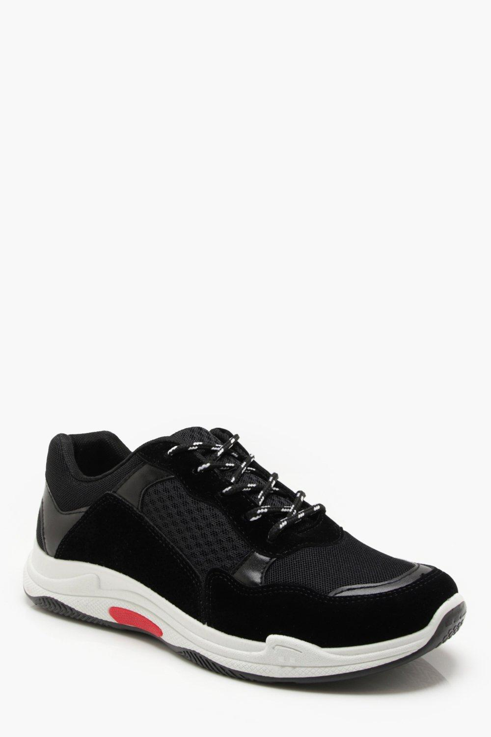 boohooMAN black Faux Suede Panelled Chunky Trainer