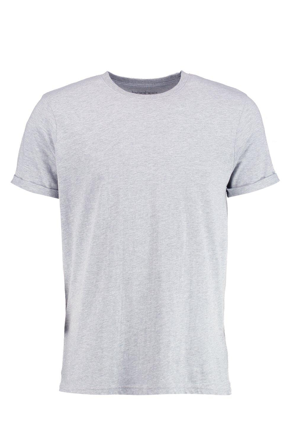 boohooMAN grey marl Crew Neck T-Shirt with Rolled Sleeves