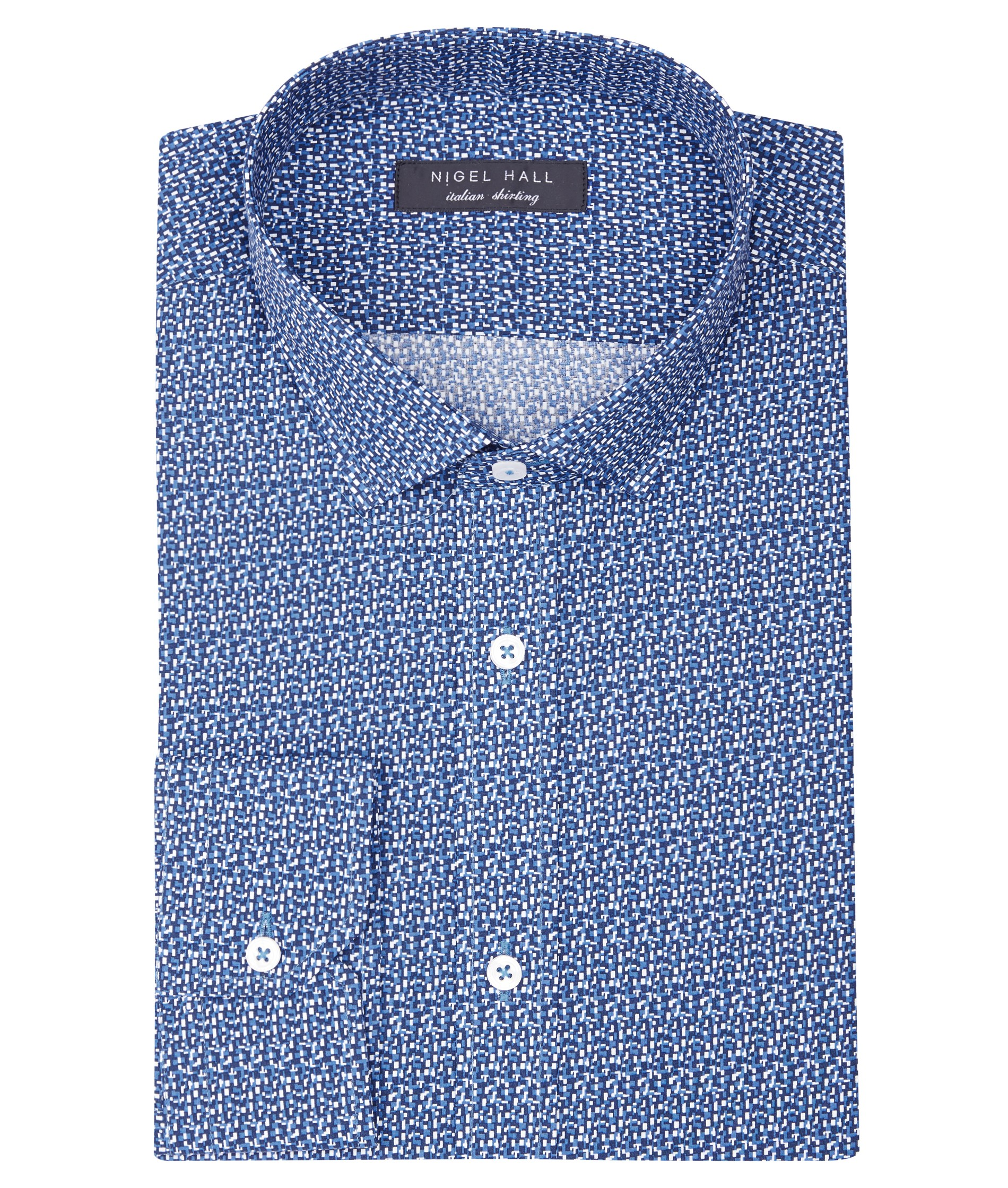 Nigel Hall Blue Cuboid Print Long Sleeve Small Spread Collar Cotton Shirt (Delight)