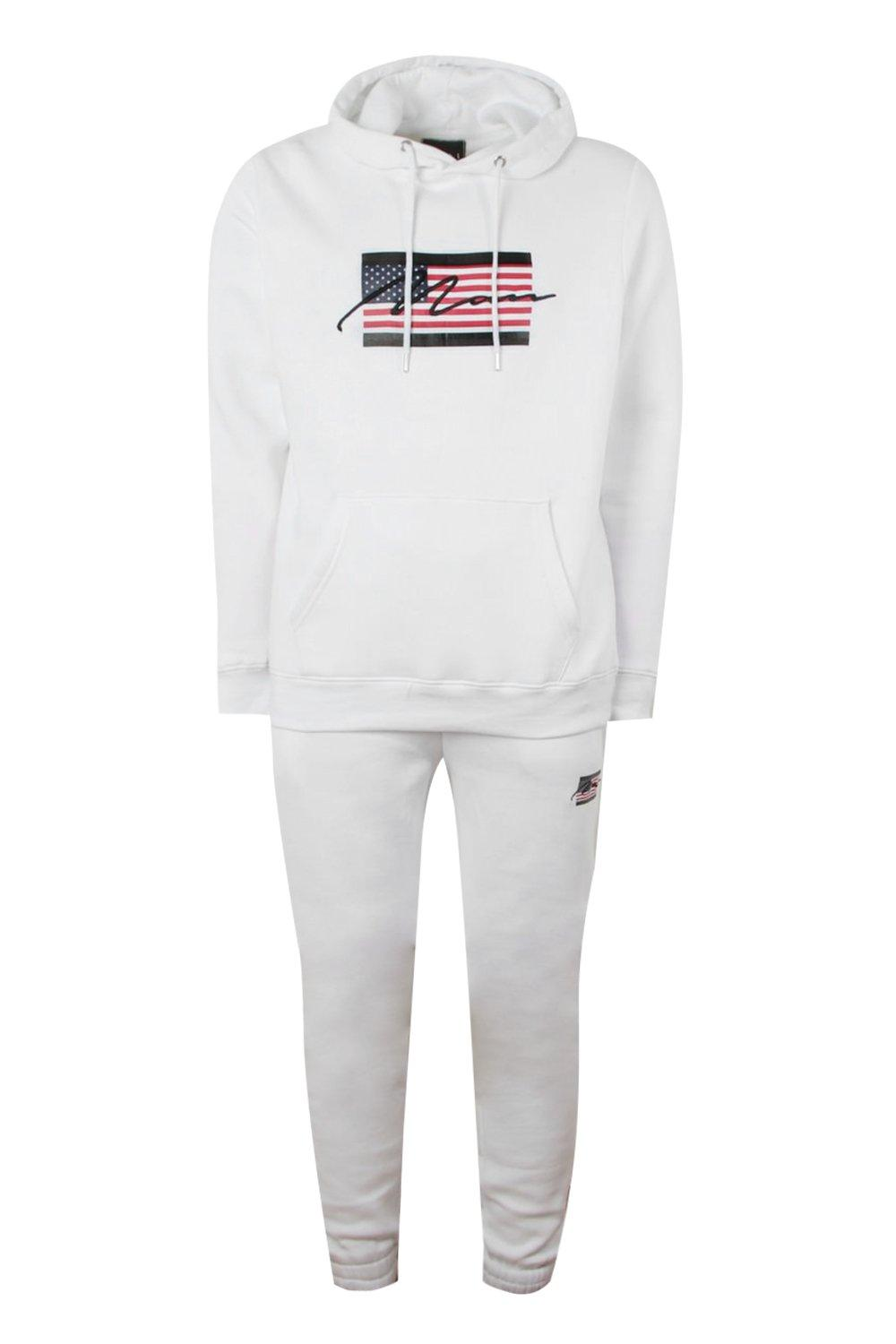 boohooMAN white American Flag Tracksuit With MAN Embroidery