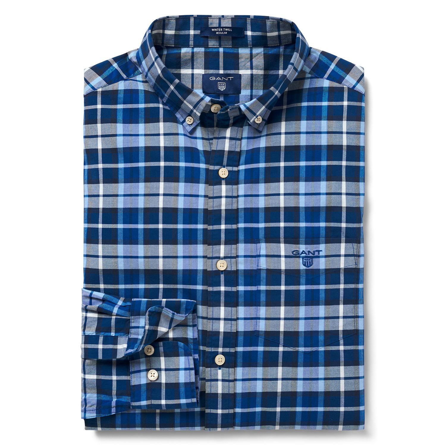 GANT College Blue Regular Winter Twill Plaid Shirt
