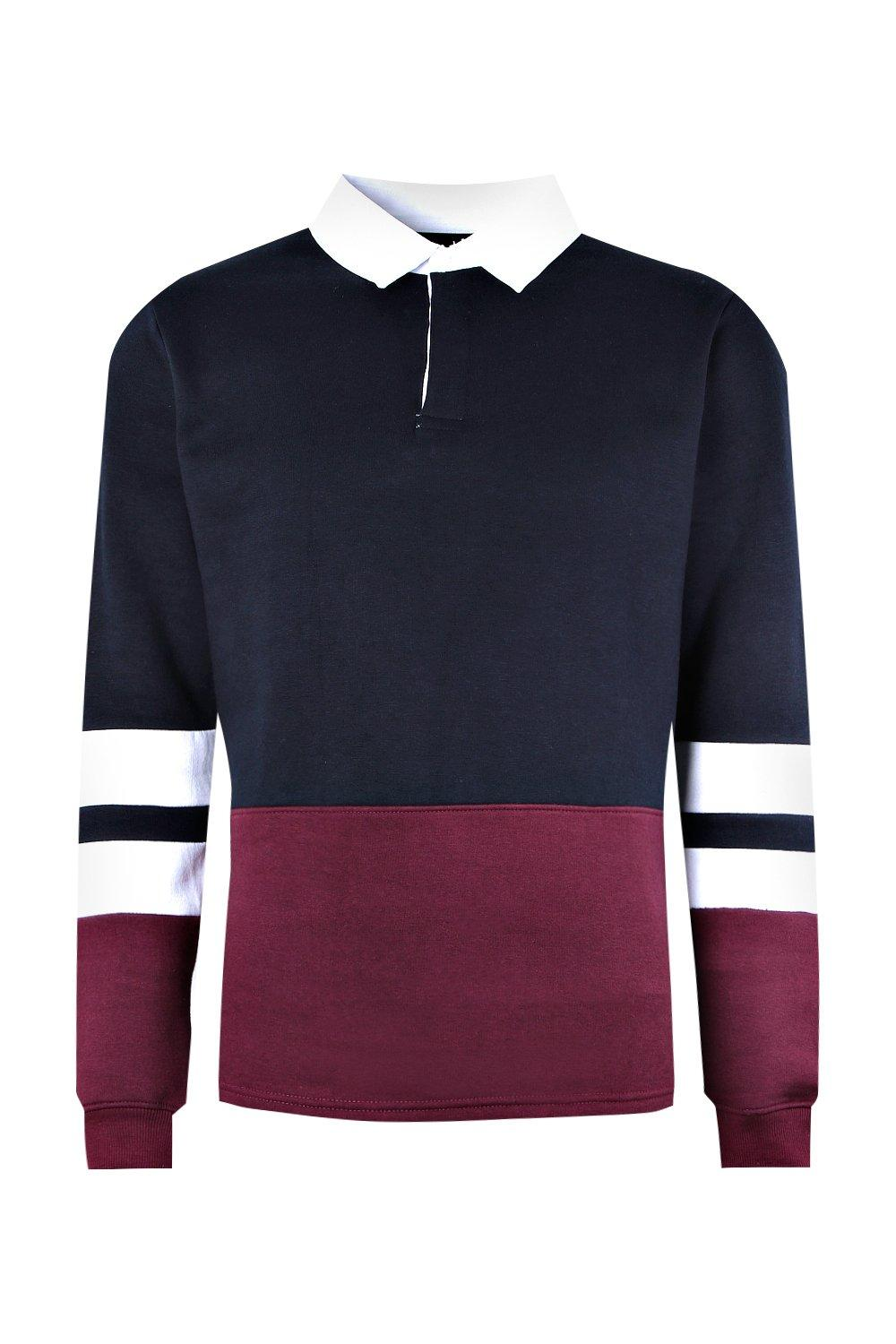 boohooMAN navy Colour Block Rugby Sweater