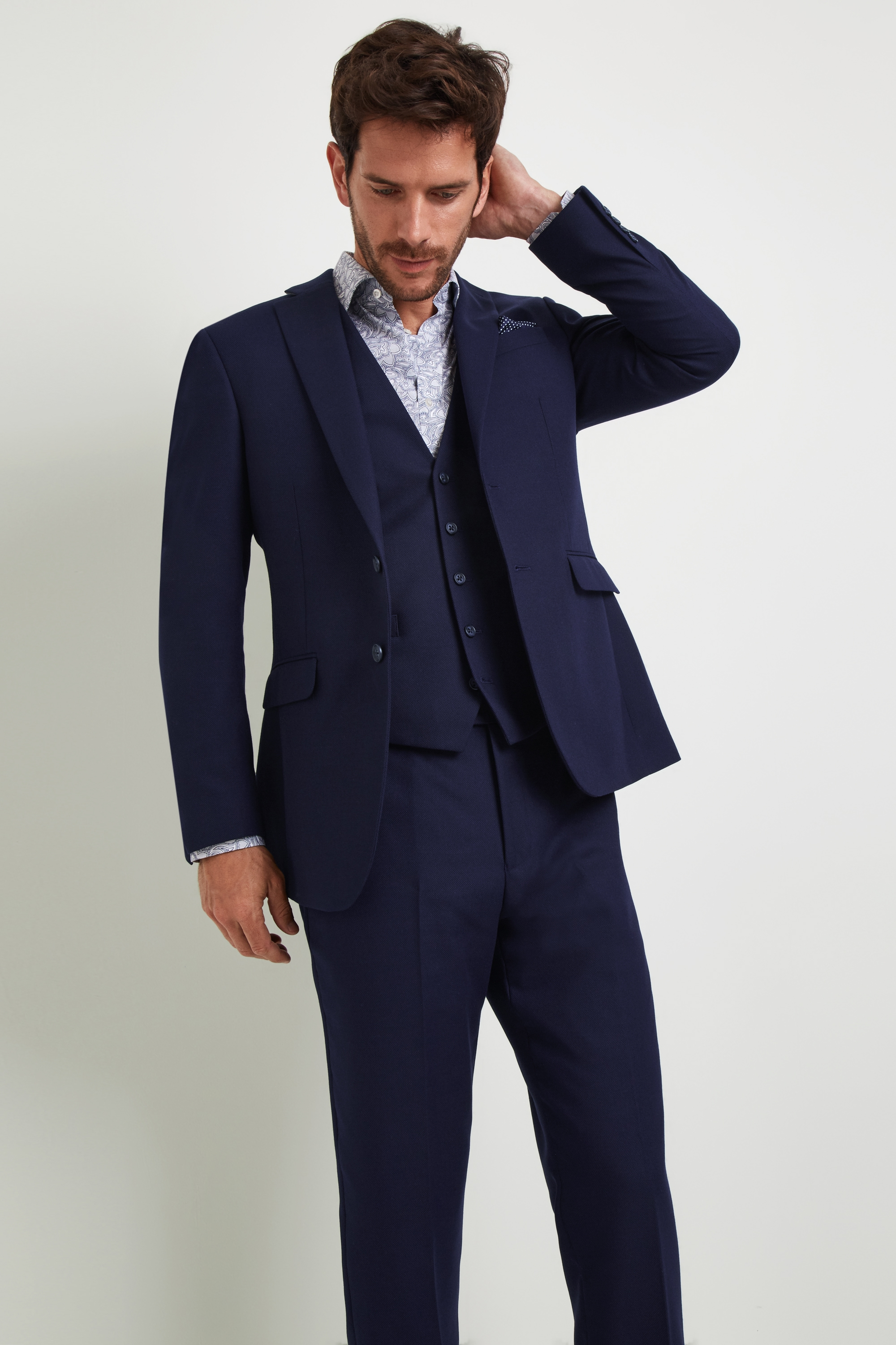 Moss Bros Moss Esq. Regular Fit Navy Blue Semi Plain Jacket