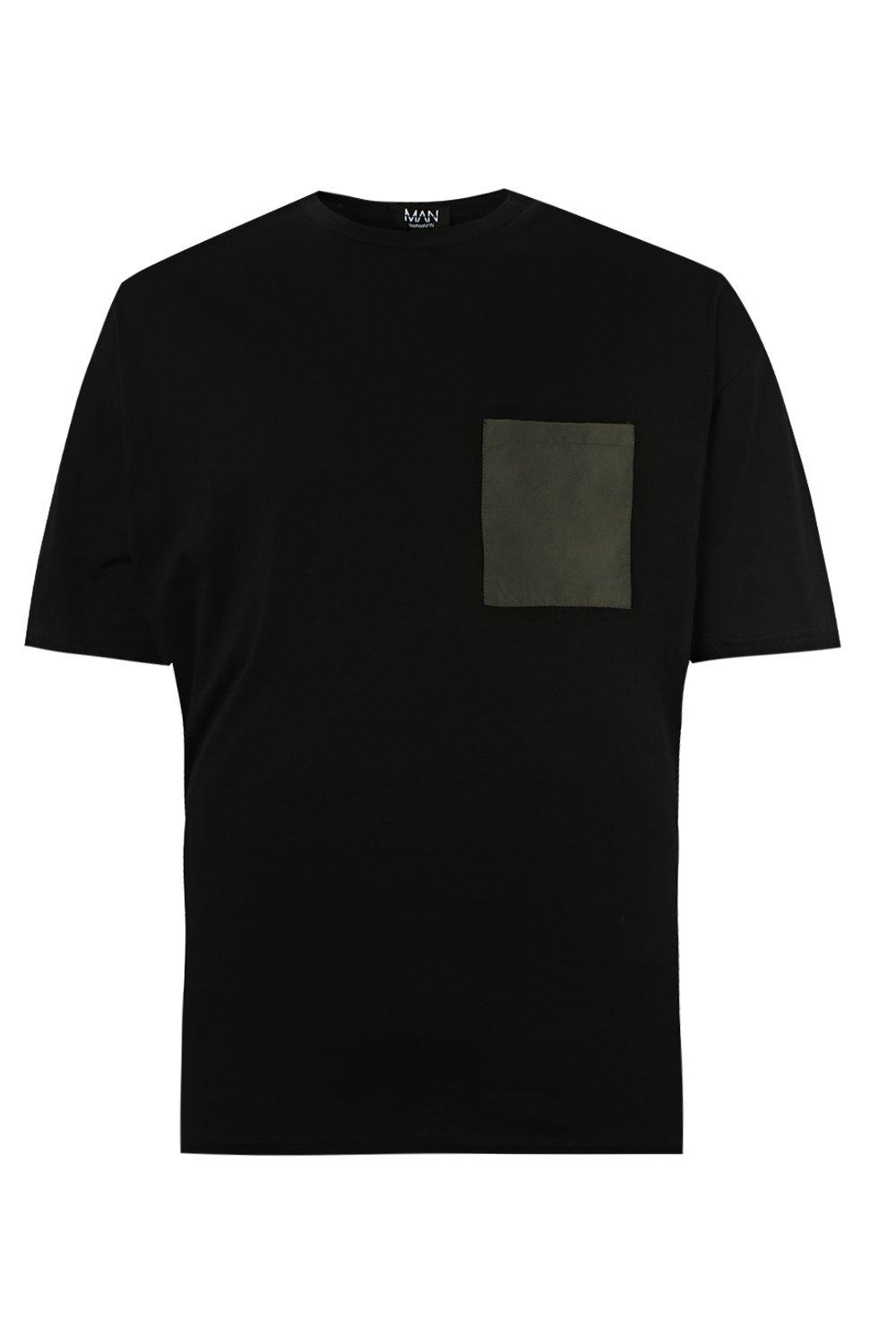 boohooMAN black Oversized T-Shirt With Woven Pocket