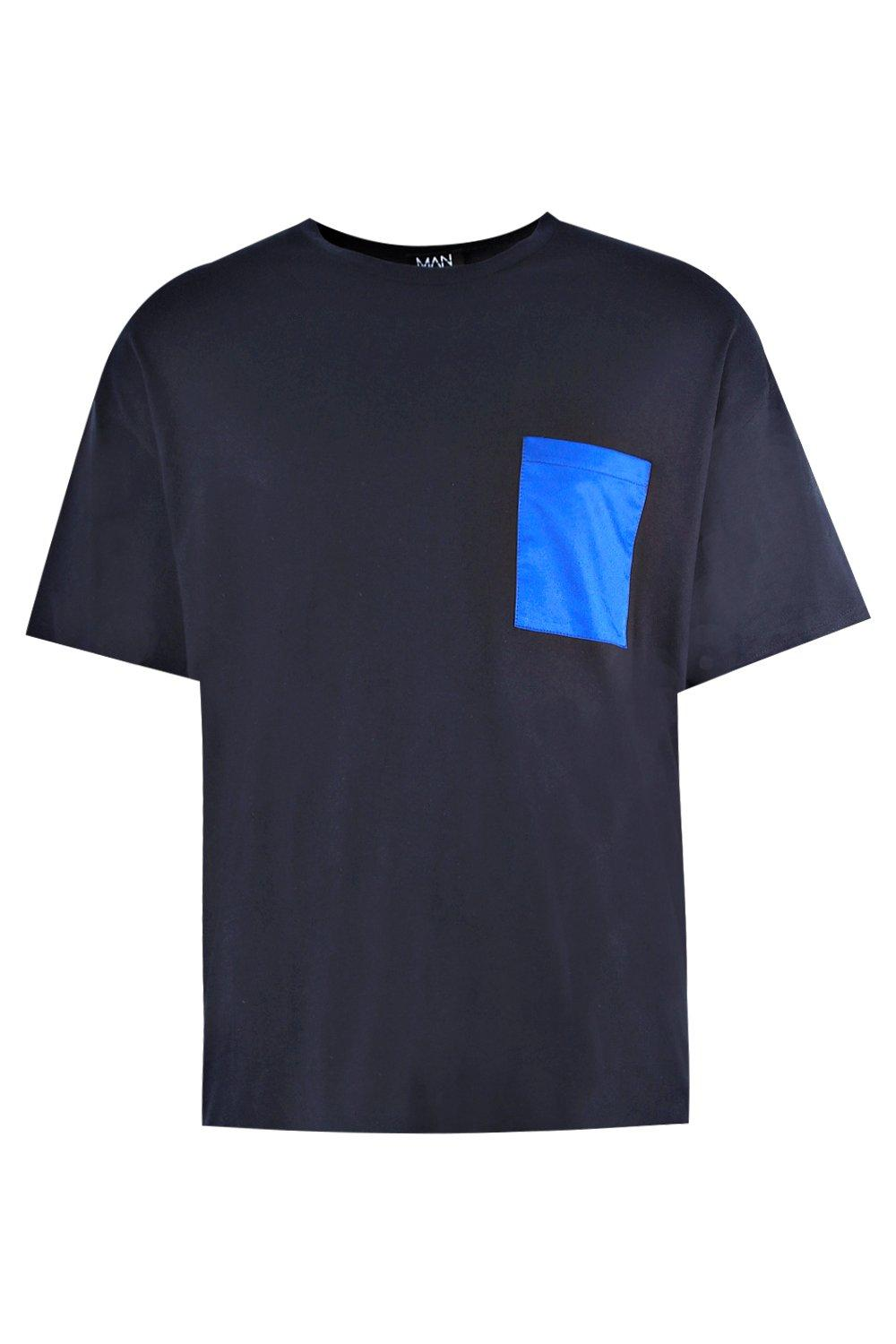 boohooMAN navy Oversized T-Shirt With Woven Pocket