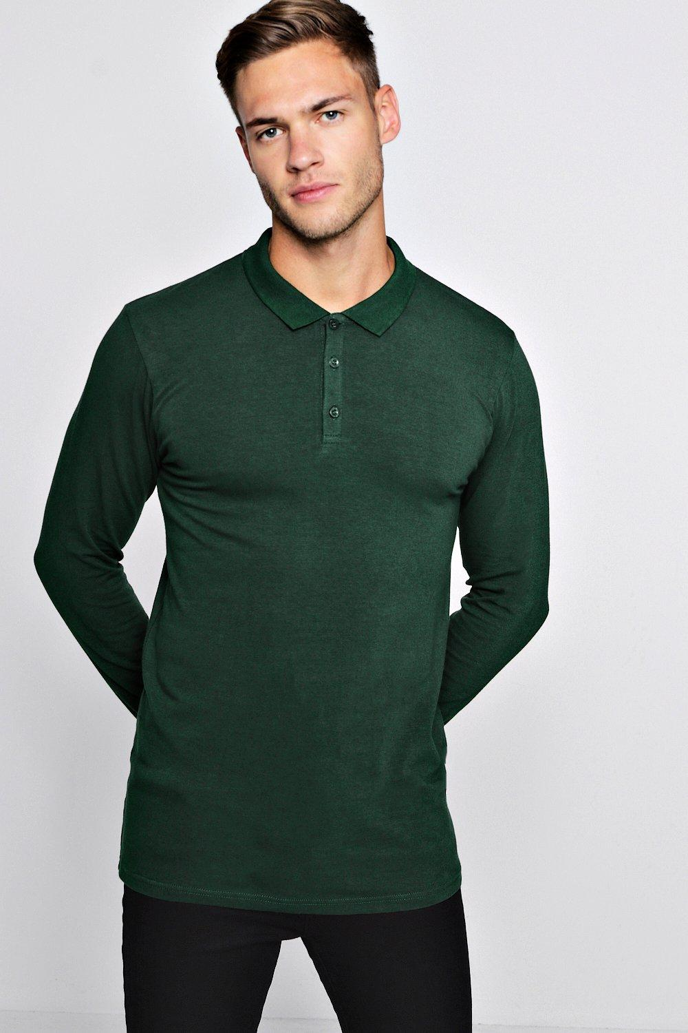 boohooMAN green Long Sleeve Extreme Muscle Fit Polo