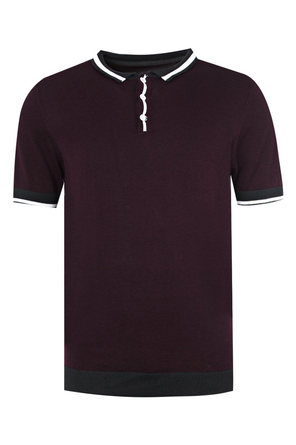 boohooMAN burgundy Short Sleeve Knitted Polo with Tipping