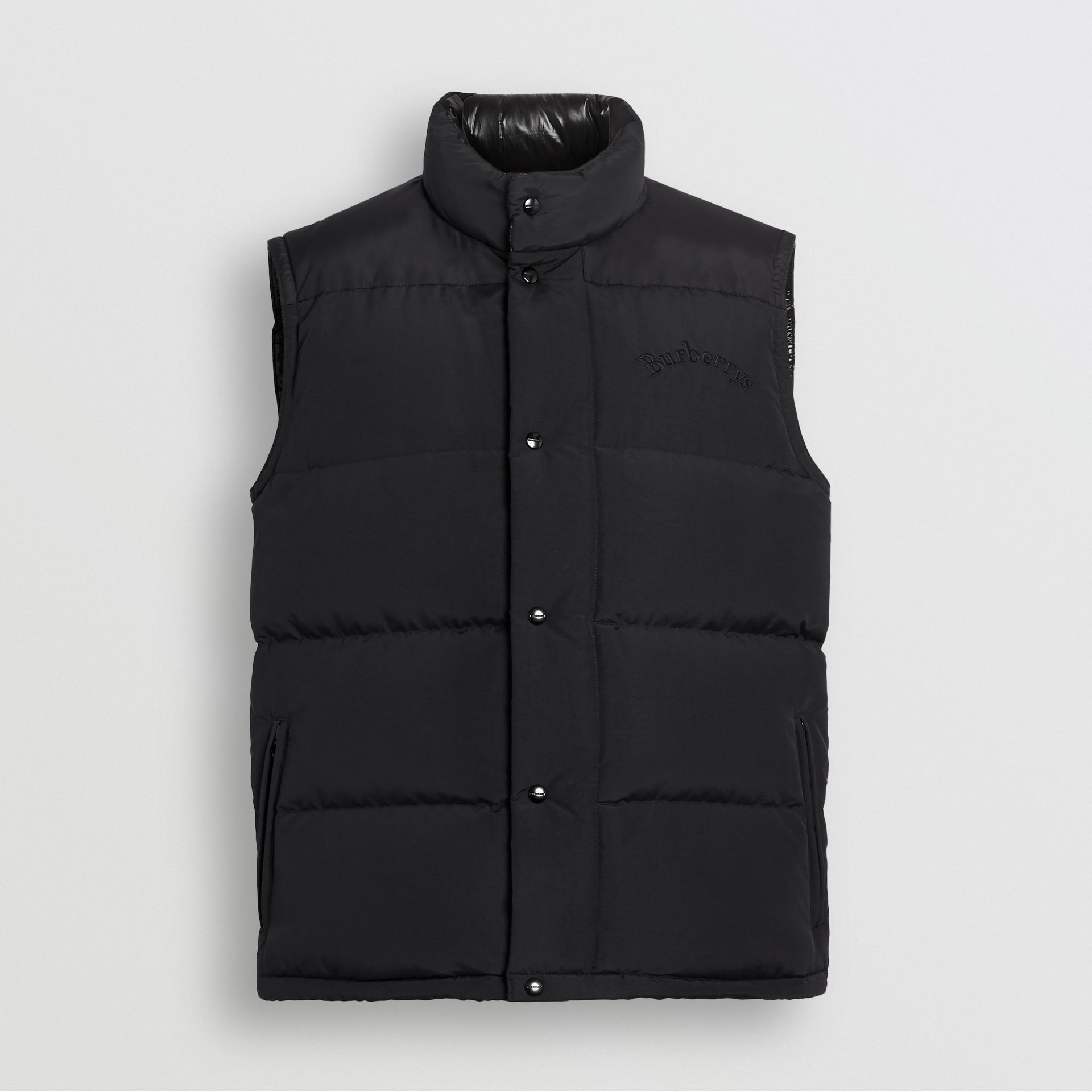 Burberry Black Embroidered Archive Logo Down-filled Gilet