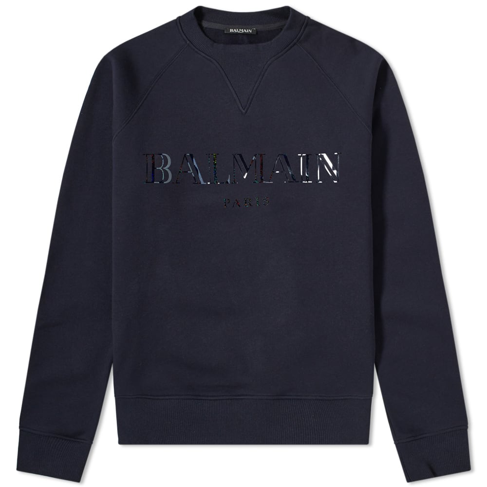 Balmain Navy Logo Crew Sweat