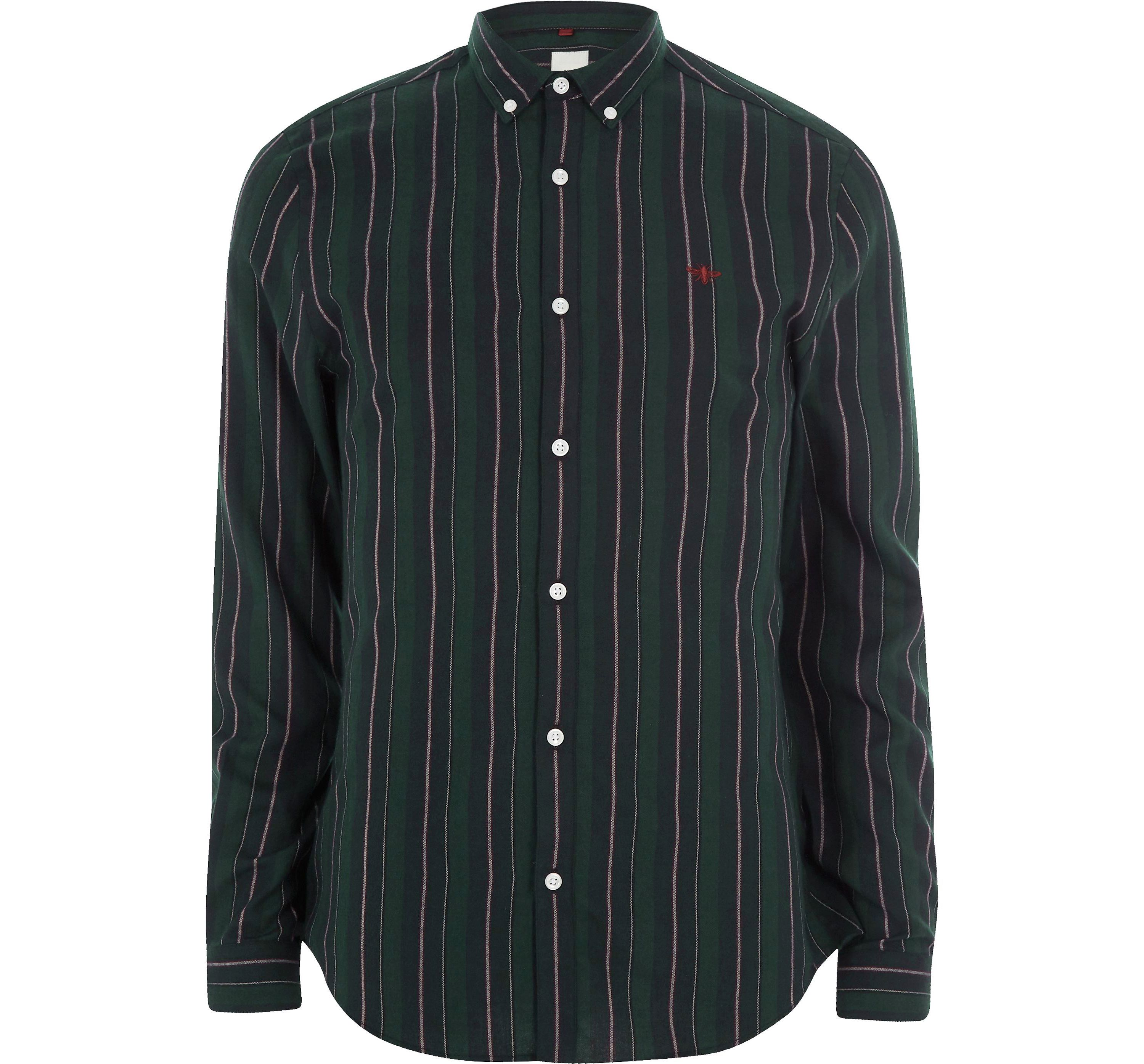 River Island Mens Dark Green mixed stripe slim fit shirt