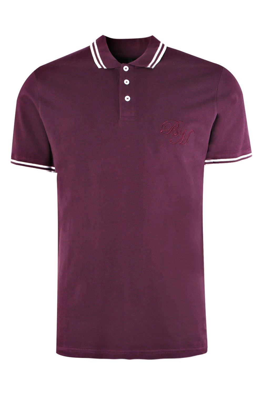 boohooMAN wine BM Embroidered Pique Polo With Tipping