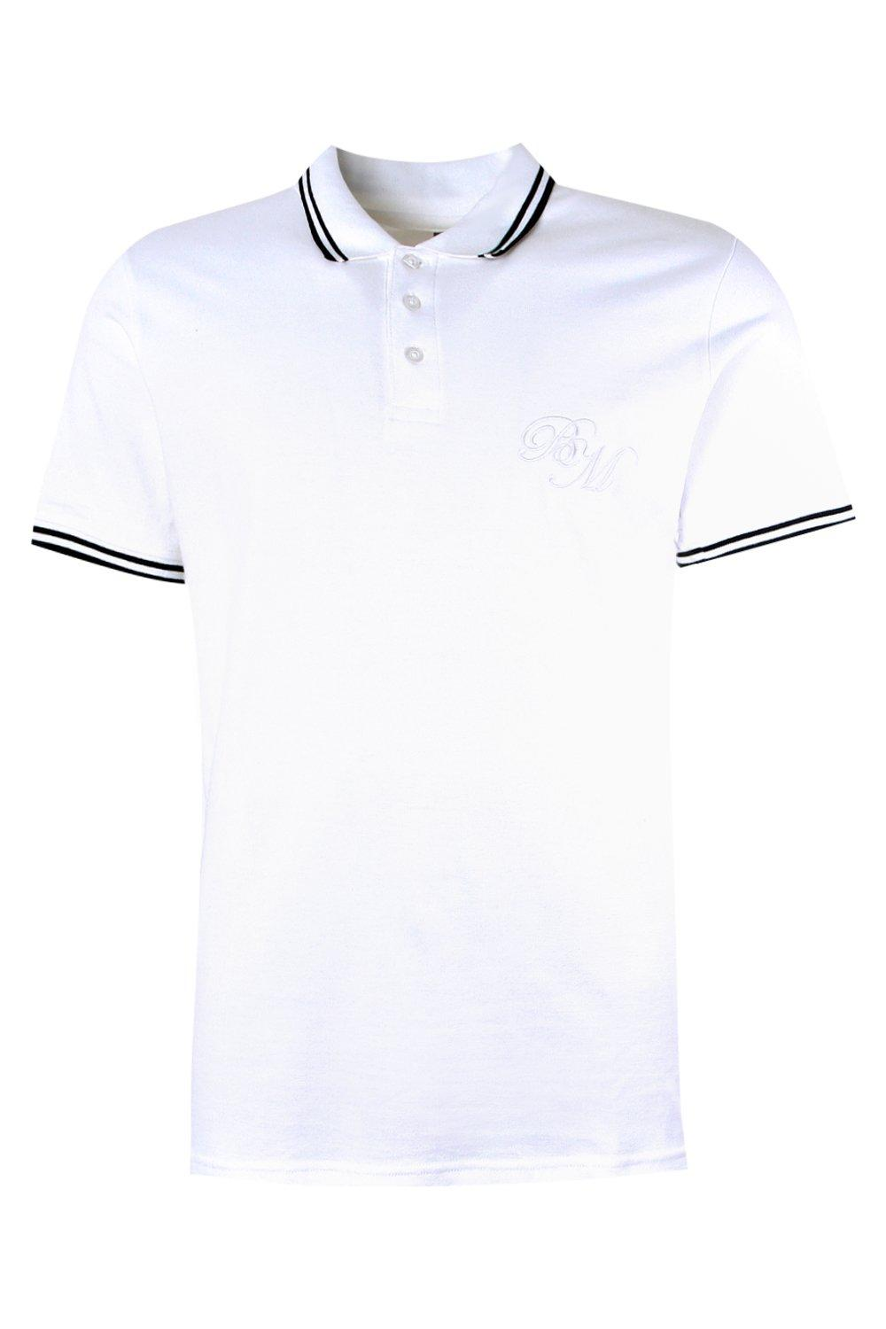 boohooMAN white BM Embroidered Pique Polo With Tipping