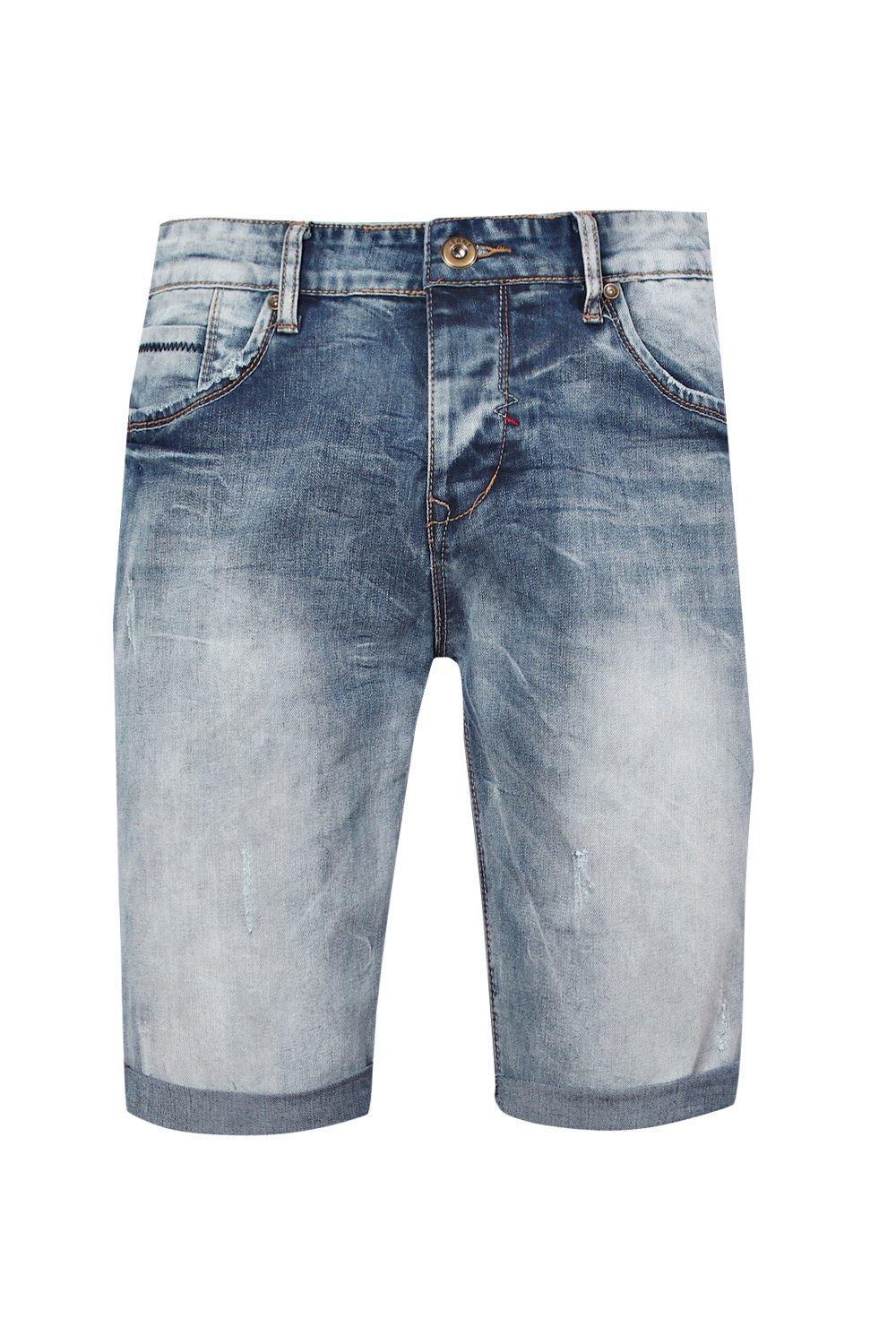 boohooMAN wash blue Skinny Fit Denim Shorts With Turn Up