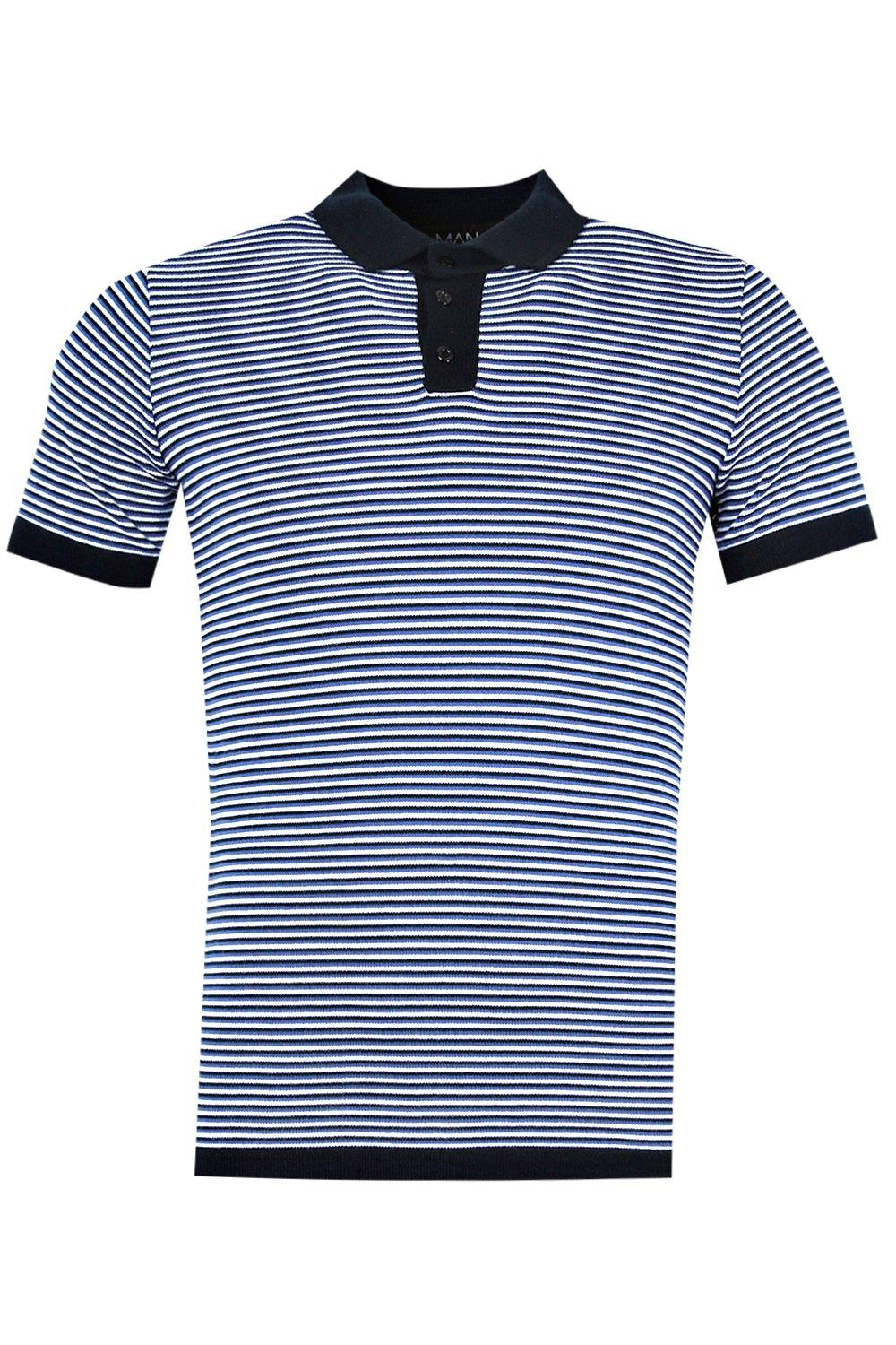 boohooMAN blue Short Sleeve Knitted Stripe Polo