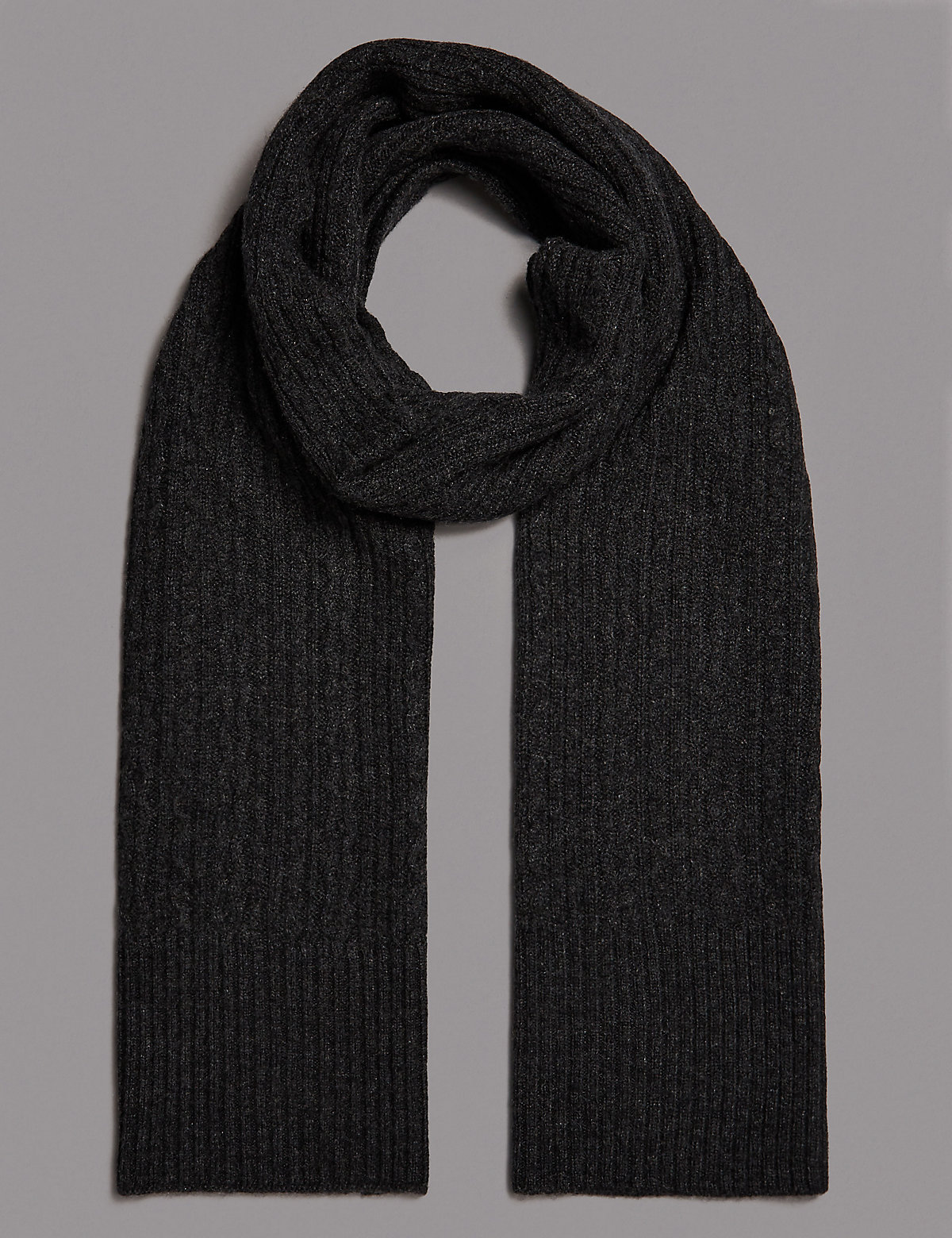 Marks & Spencer Charcoal Pure Cashmere Cable Scarf