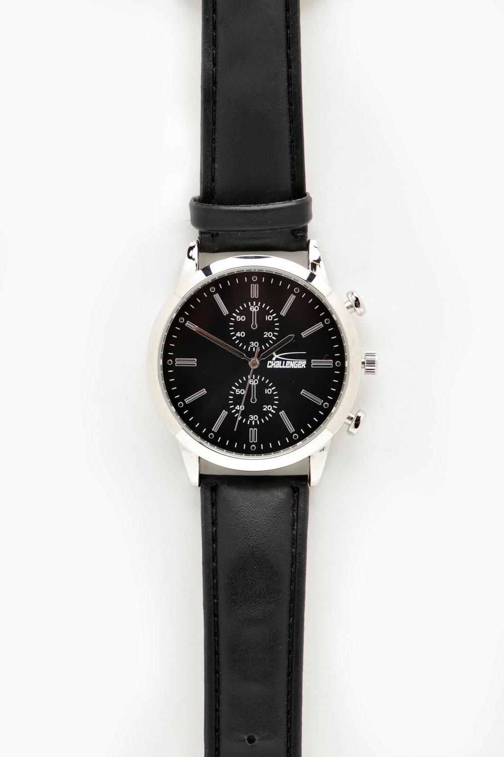 boohooMAN black PU Strap Dial Design Watch