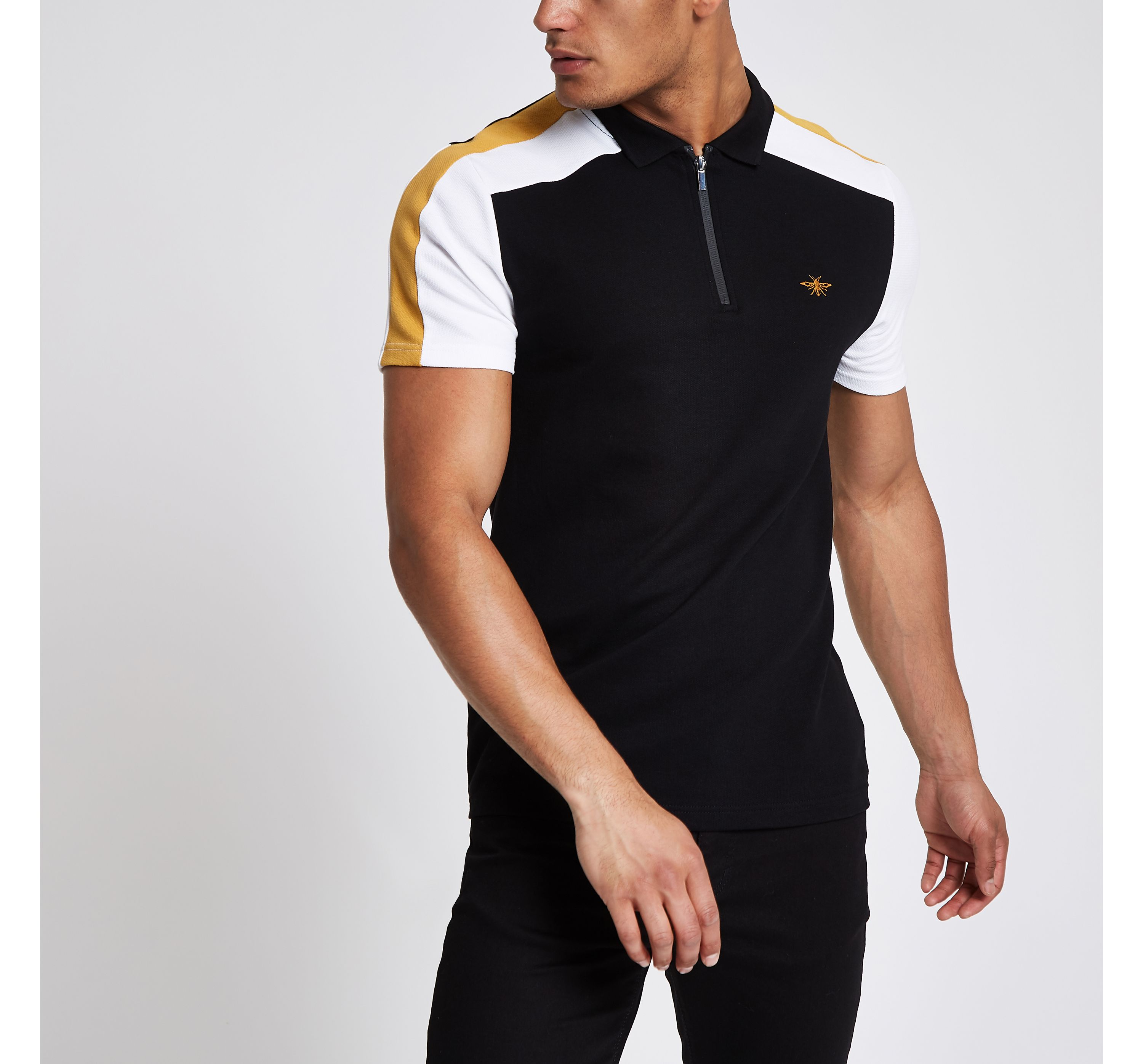 River Island Mens Black colour block wasp pique polo shirt