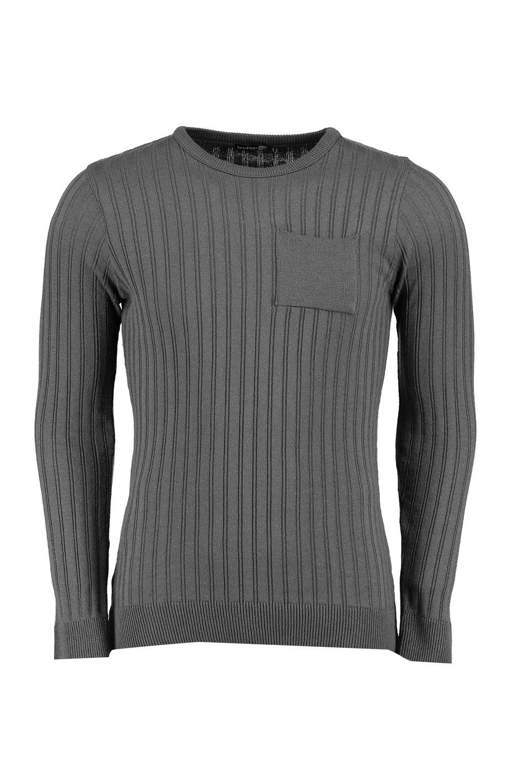 boohooMAN charcoal Knitted Crew Neck Jumper With Patch Pocket