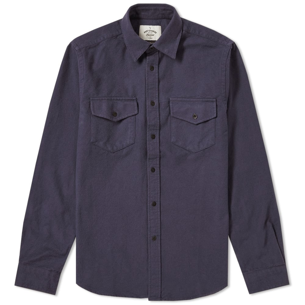 Portuguese Flannel Navy Campo Overshirt