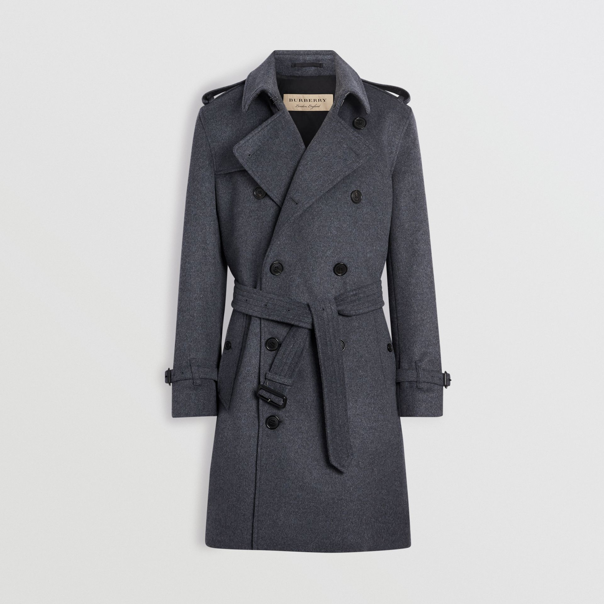 Burberry Pewter Melange Wool Cashmere Trench Coat