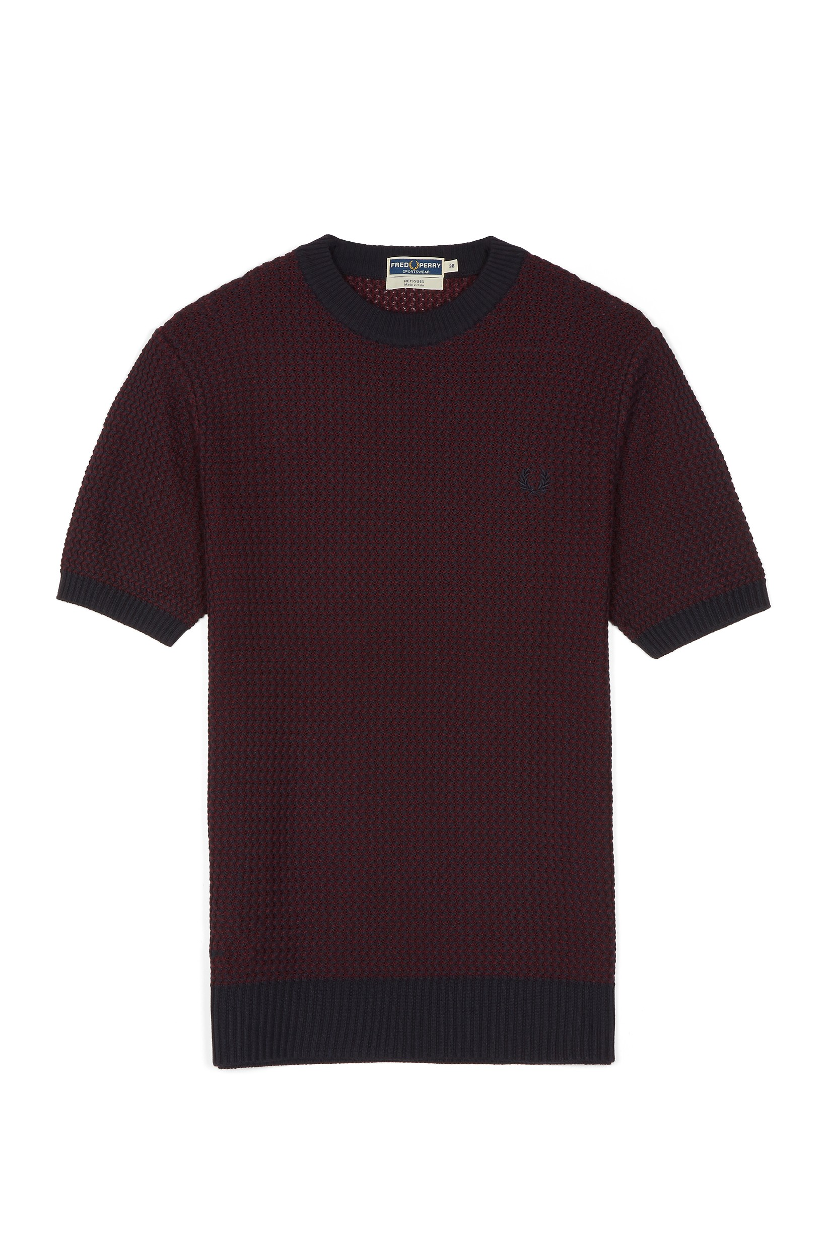Fred Perry Maroon Reissues Two Colour Knitted Crew Neck
