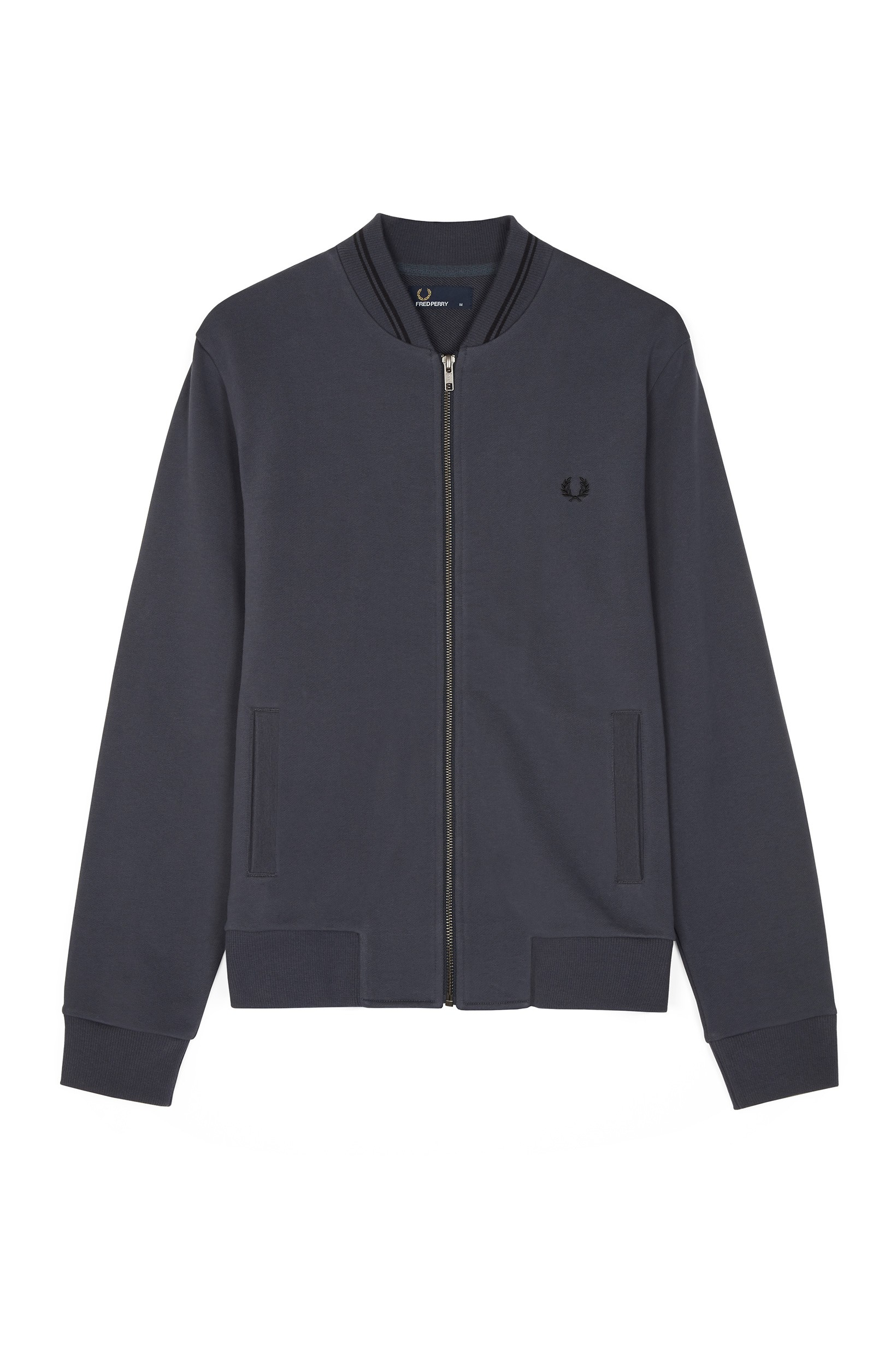Fred Perry Charcoal Zip-Through Bomber Sweat