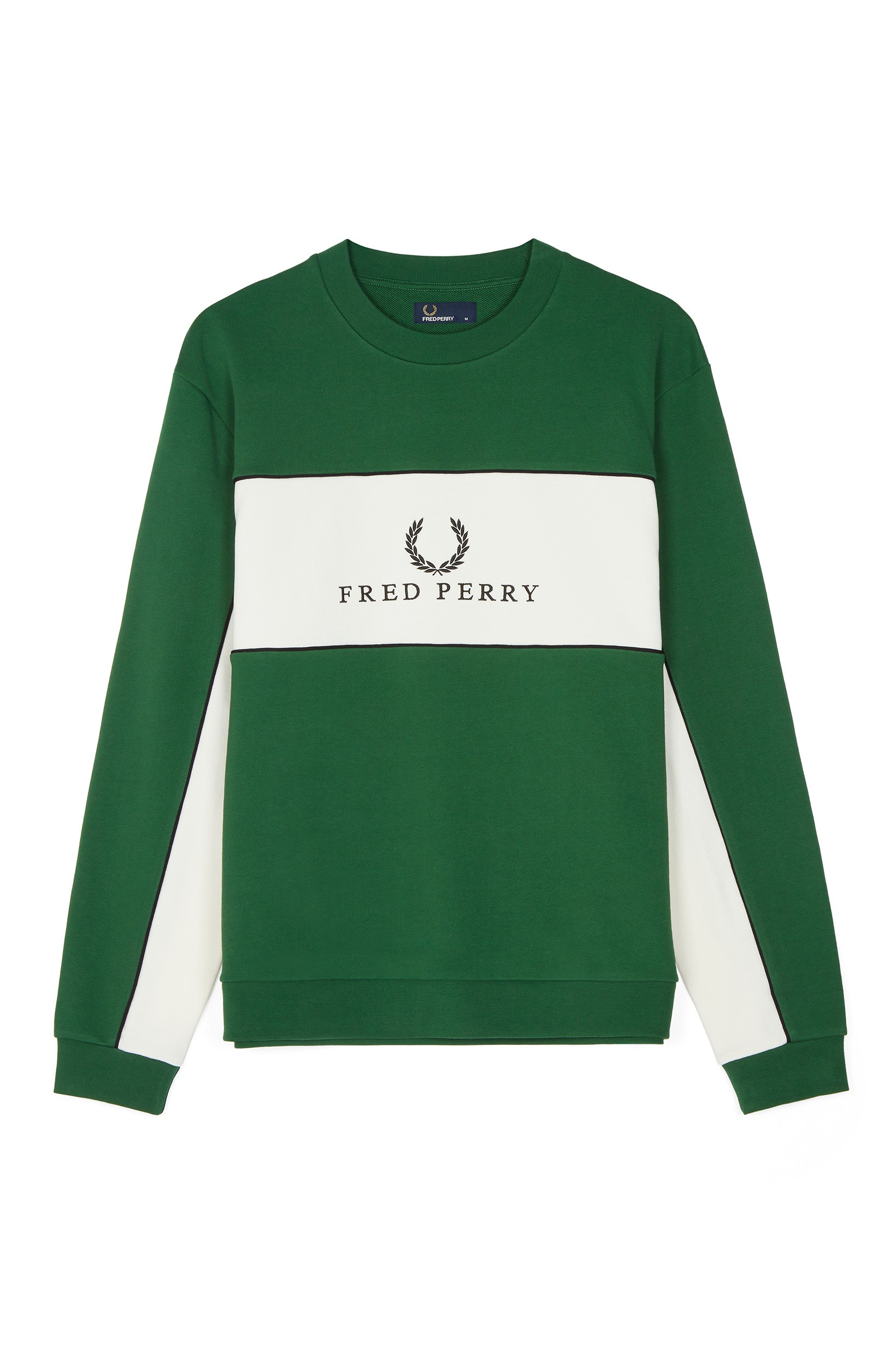 Fred Perry Tartan Green Sports Authentic Piped Sweatshirt