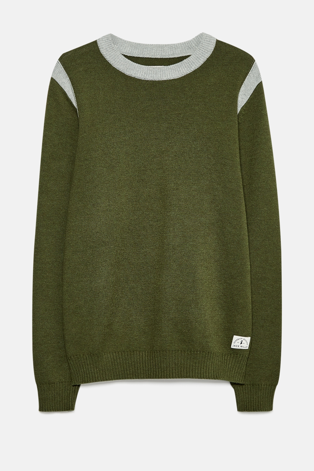 Jack Wills Olive WELLSBOURNE CONTRAST CREW NECK JUMPER