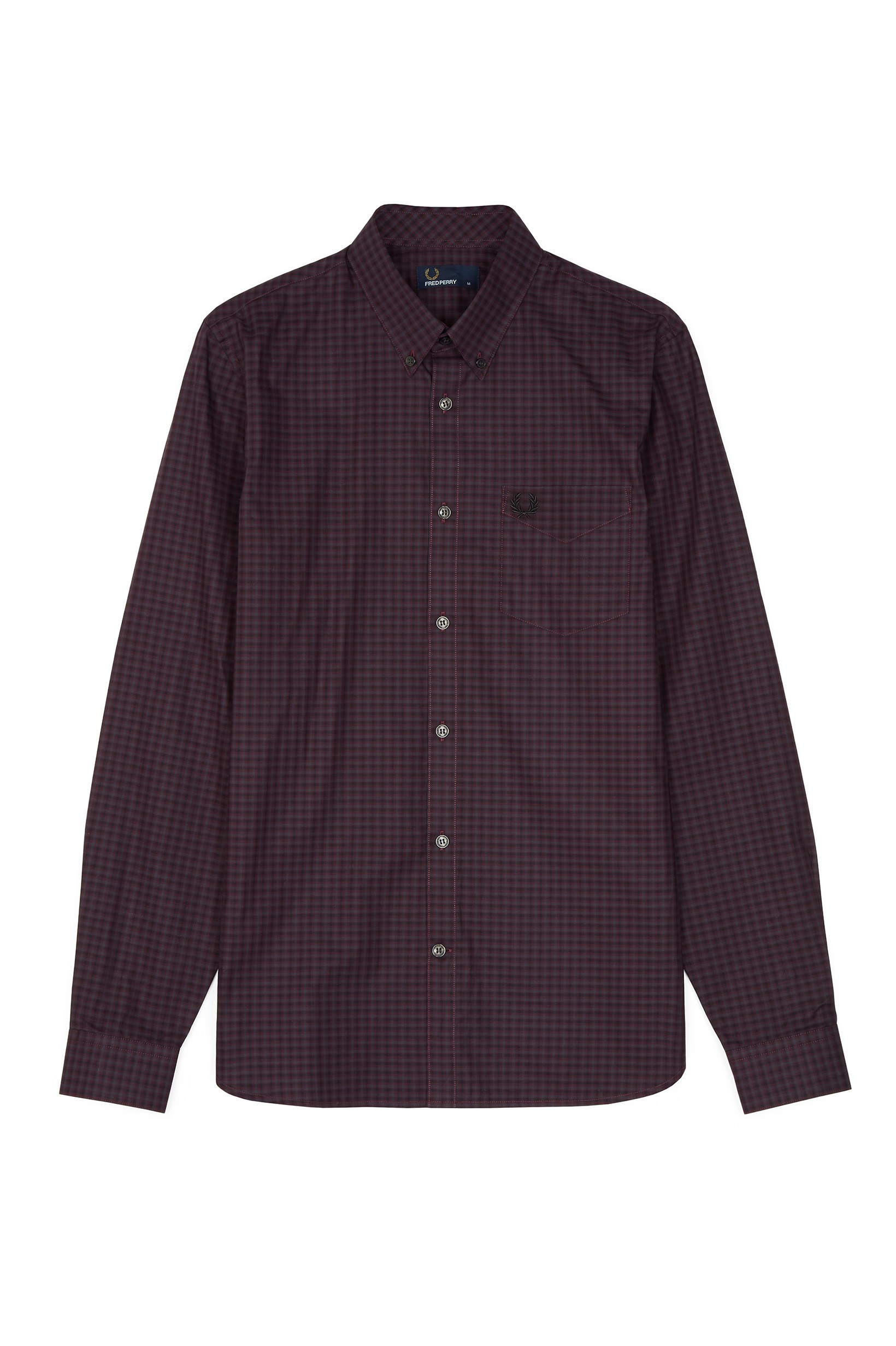 Fred Perry Deep Mahogany Three-Colour Gingham Shirt