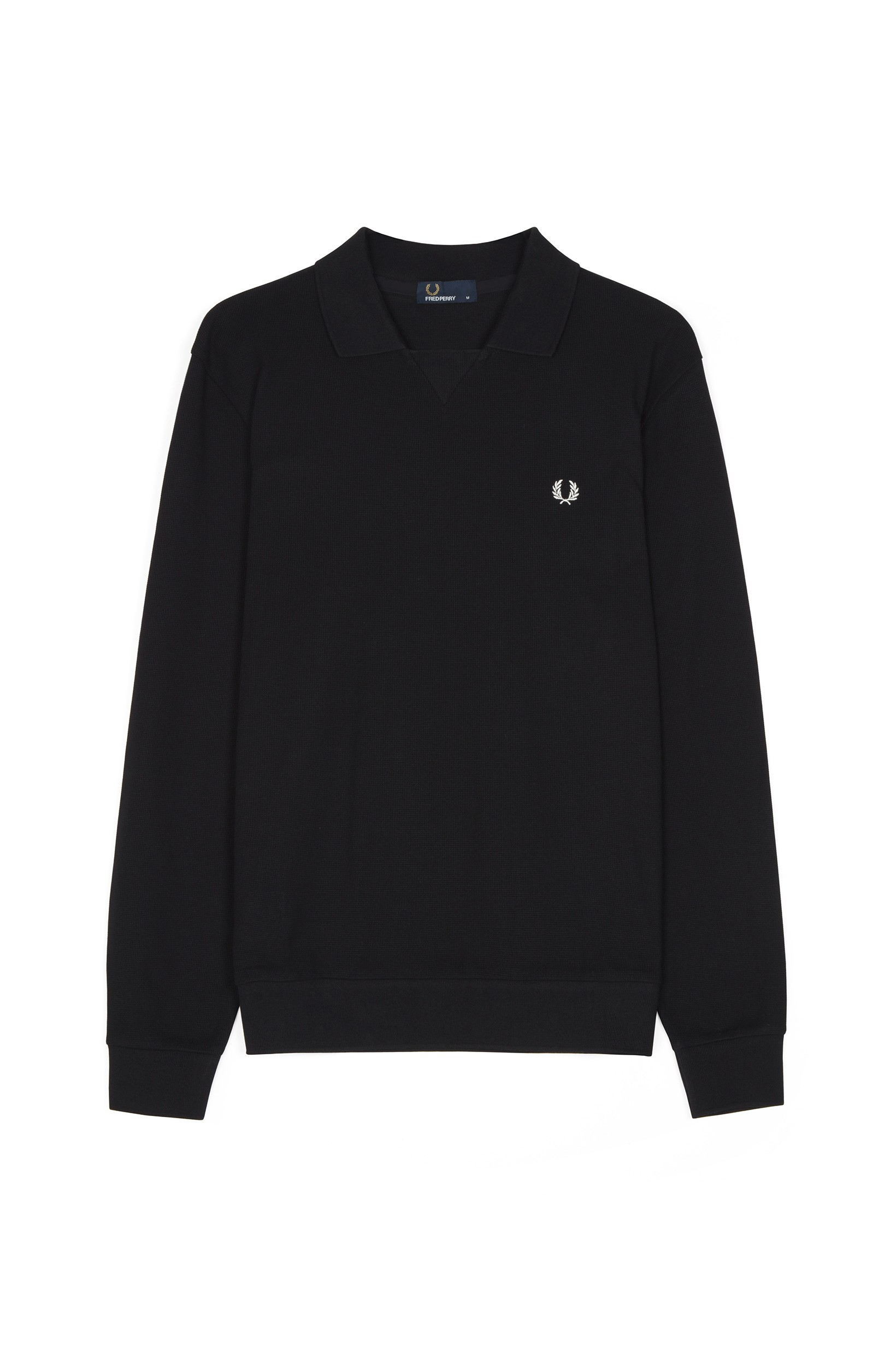 Fred Perry Black Waffle Textured Sweat Top