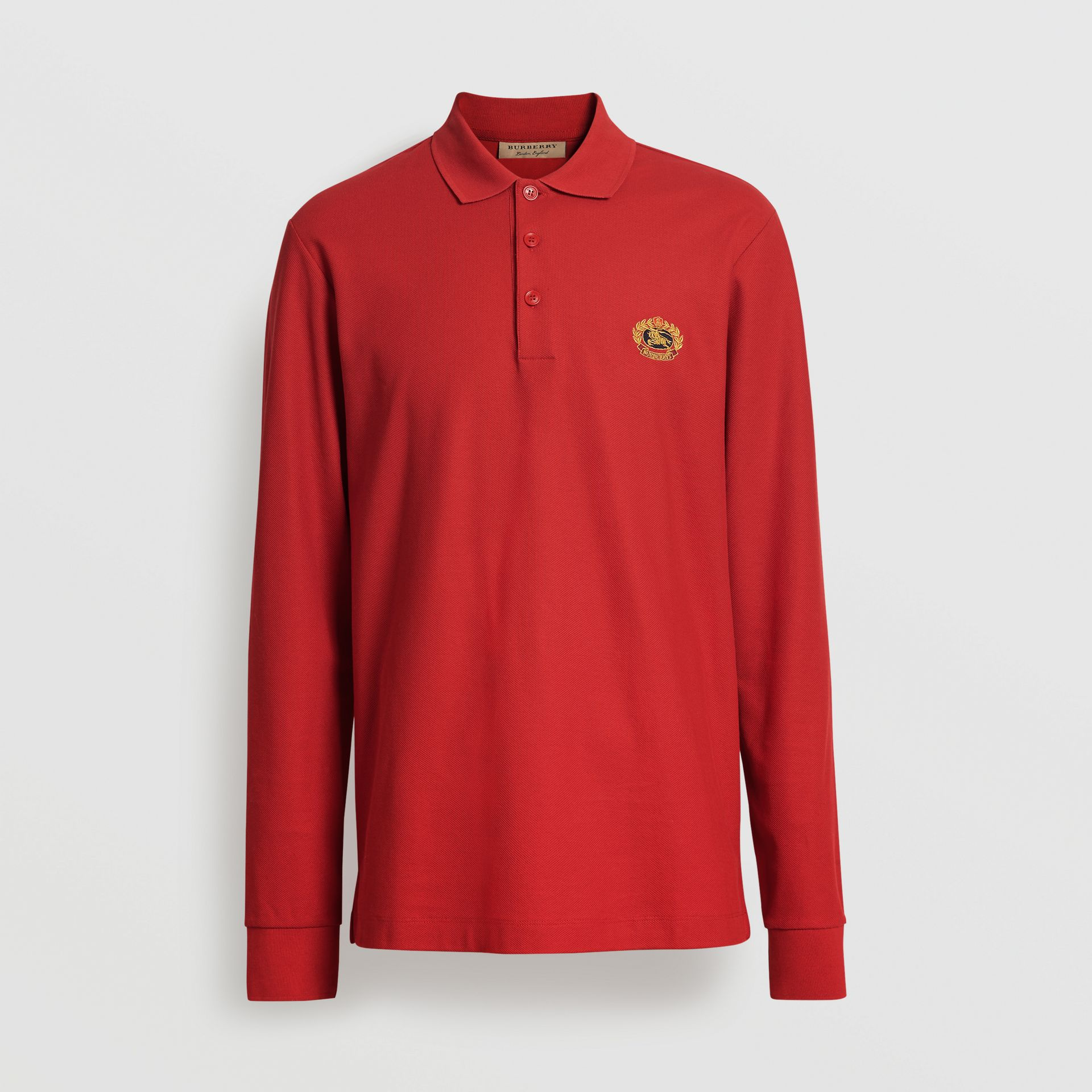 Burberry Poppy Red Long-sleeve Archive Logo Cotton Piqué Polo Shirt