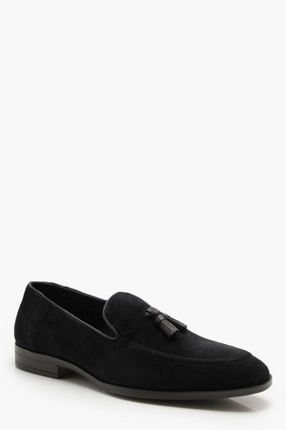 boohooMAN black Real Suede Tassel Loafer