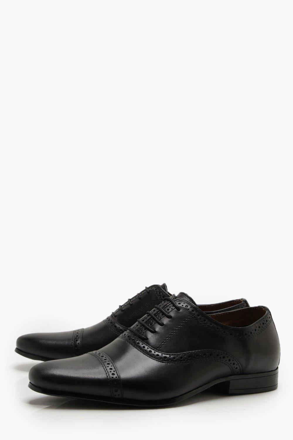 boohooMAN black Real Leather Punched Brogue