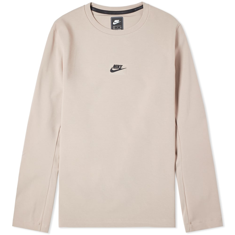 Nike Diffused Taupe & Black Long Sleeve Tech Pack Crew Tee