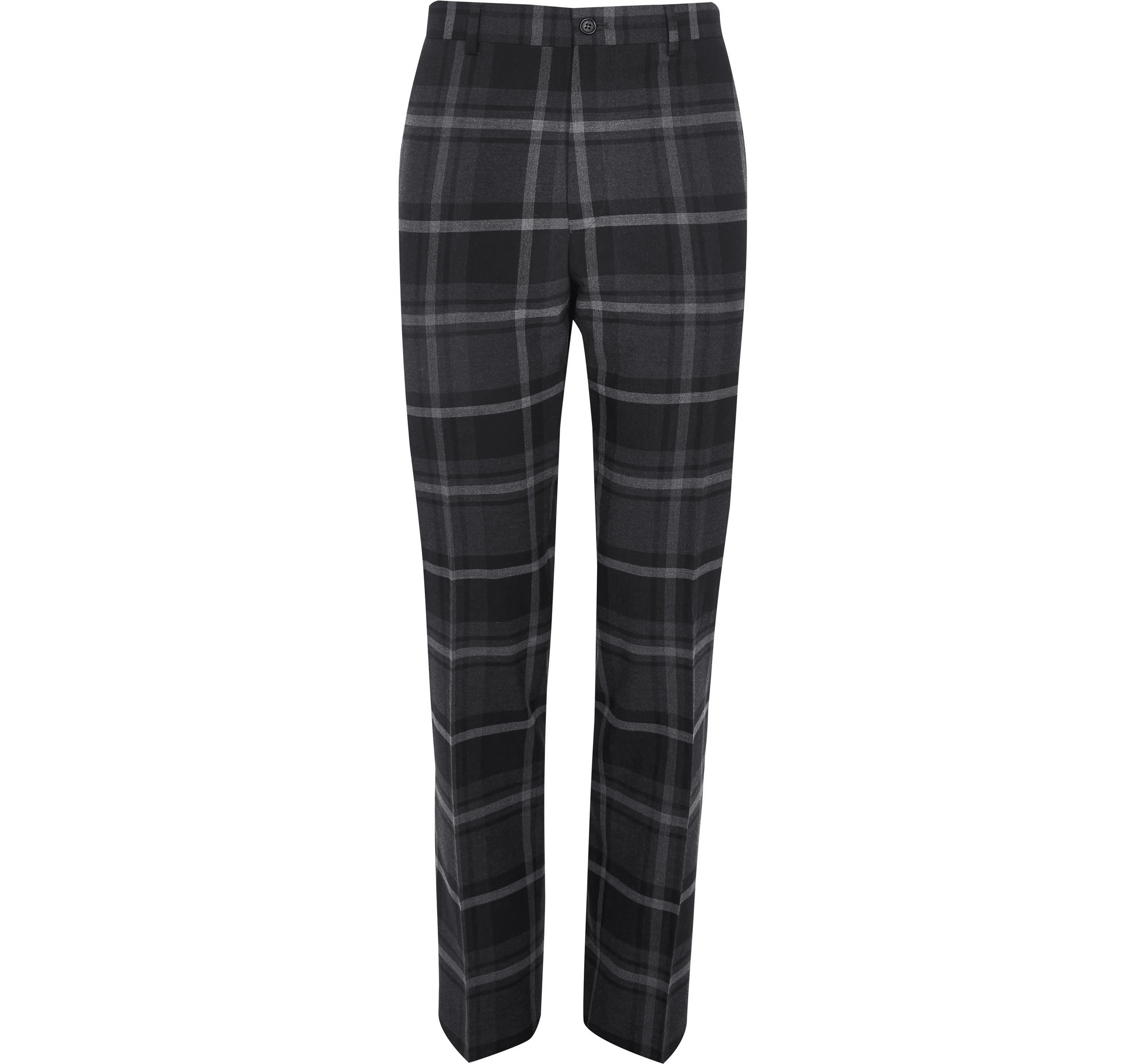 River Island Mens Grey check slim fit smart trousers
