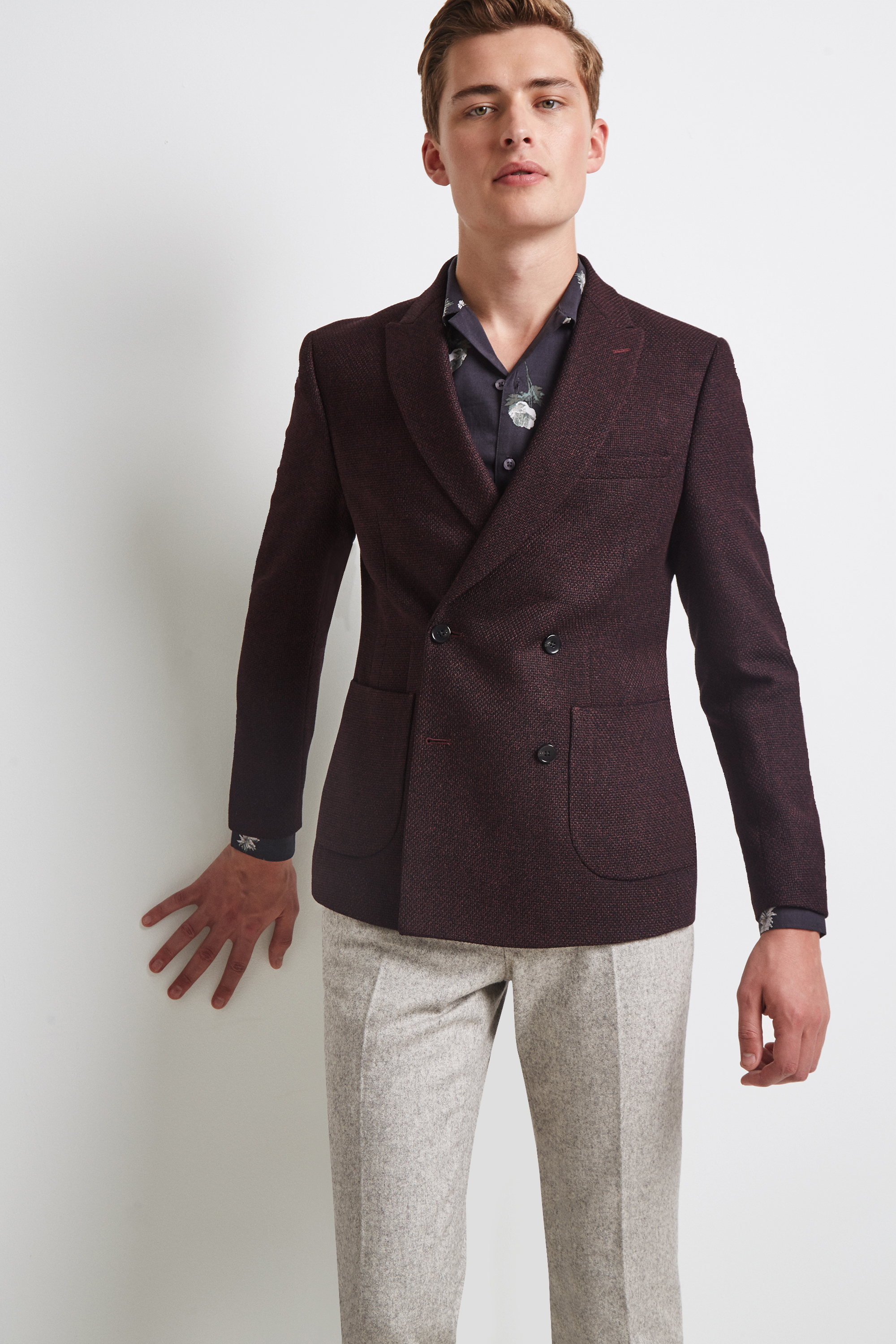Moss Bros Moss London Skinny Fit Burgundy Knit Double Breasted Jacket