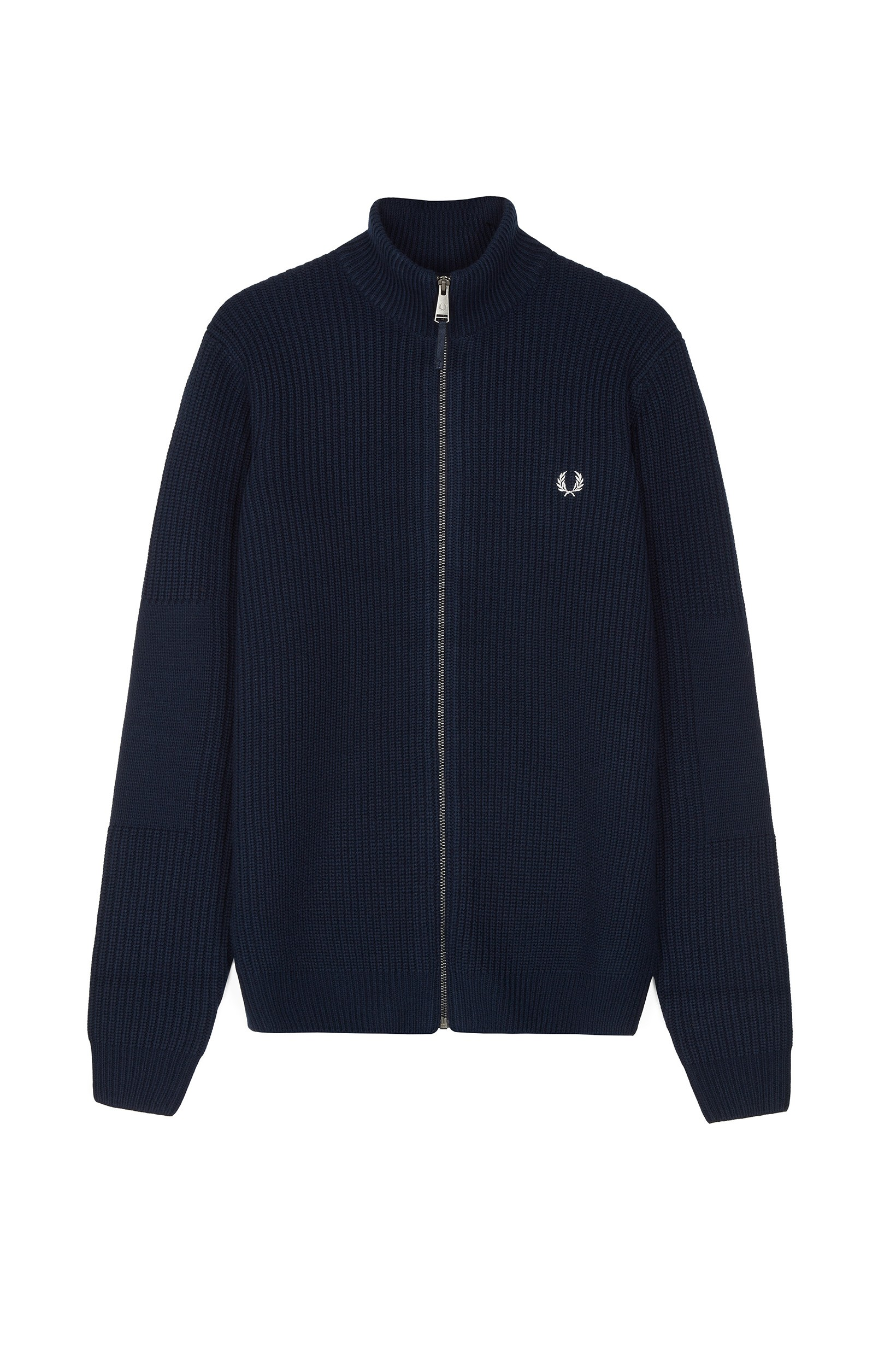 Fred Perry Navy Ribbed Zip-Through Cardigan