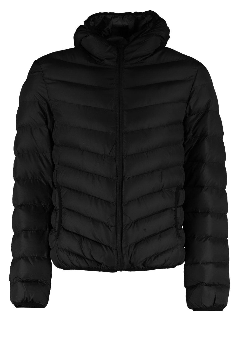 boohooMAN black Quilted Zip Through Jacket With Hood