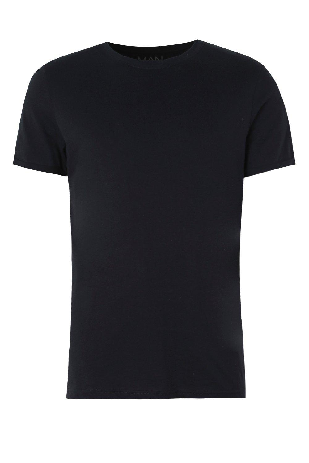 boohooMAN navy Crew Neck T-Shirt with Rolled Sleeves