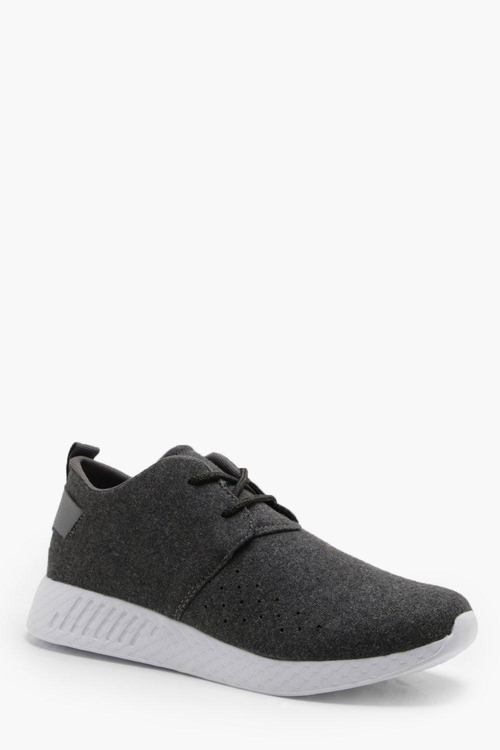 boohooMAN grey Wool Look Lace Up Trainer