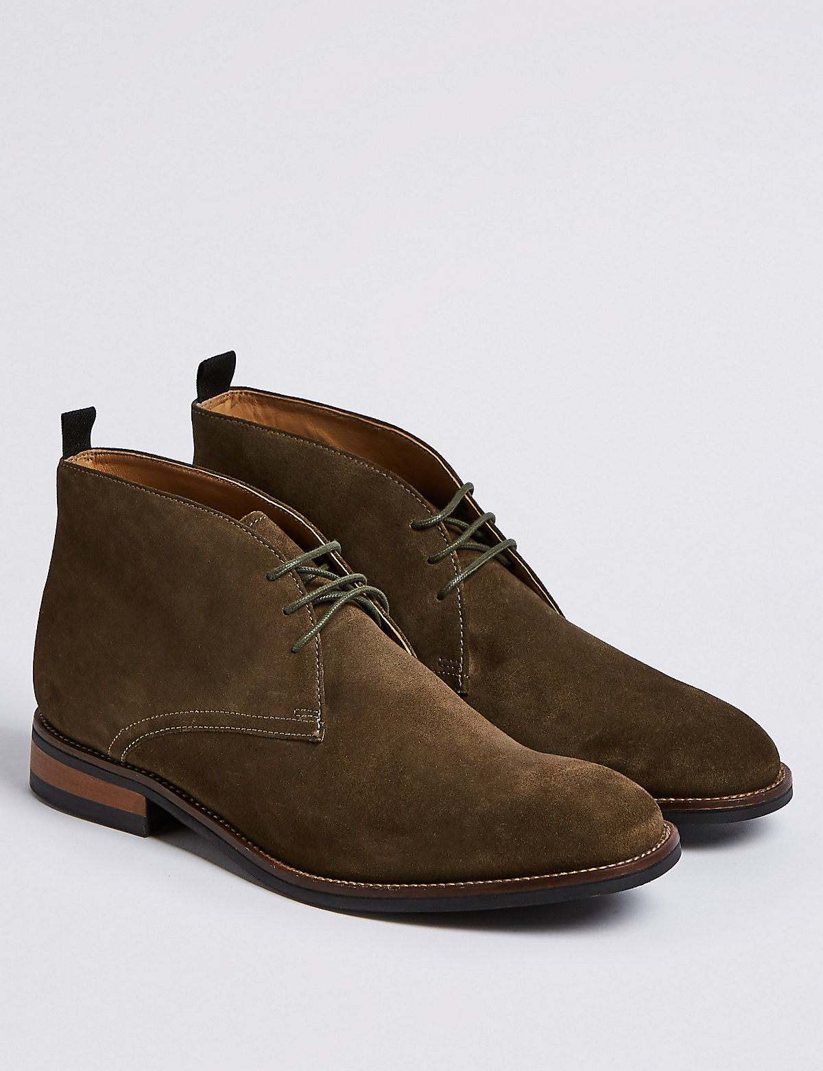 Marks & Spencer Olive Suede Lace-up Chukka Boots